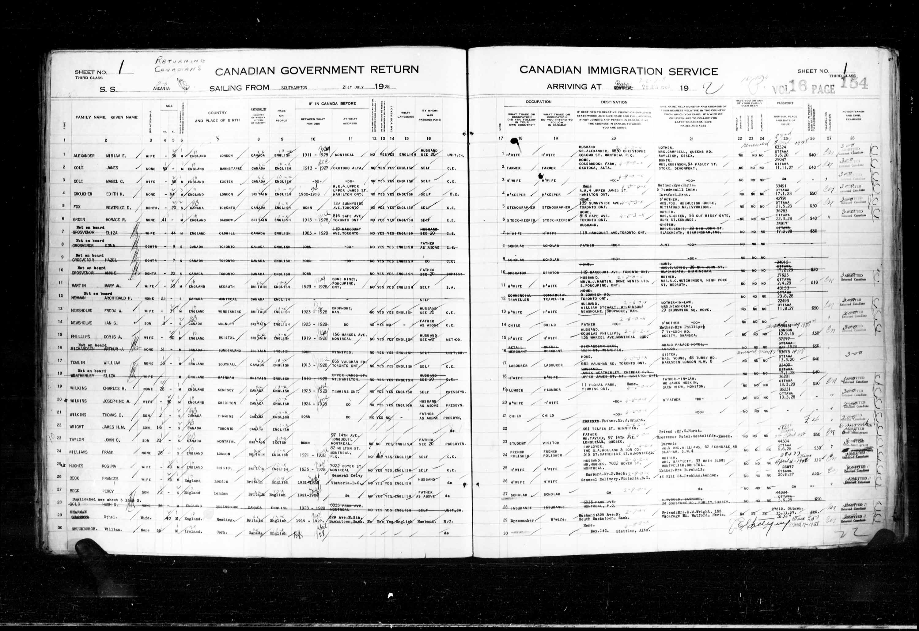 Title: Passenger Lists: Quebec City (1925-1935) - Mikan Number: 134839 - Microform: t-14746
