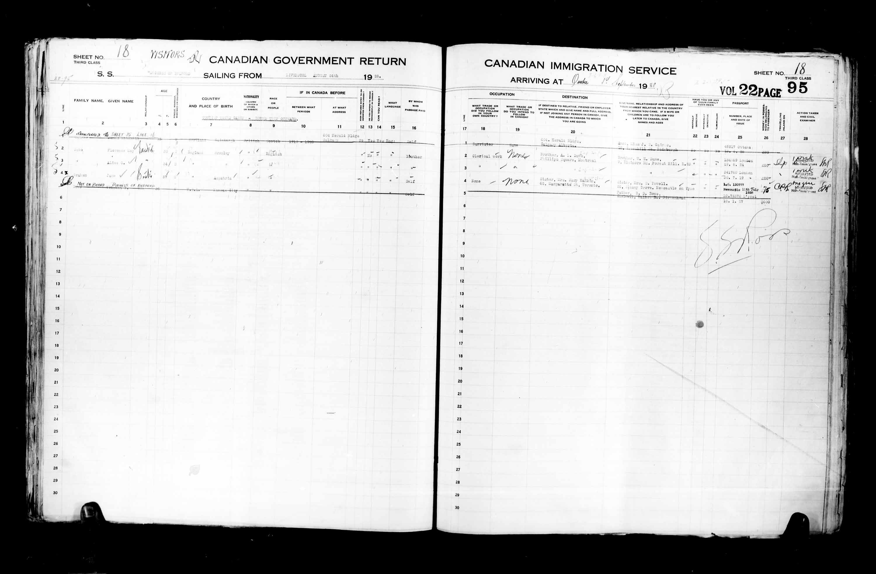 Title: Passenger Lists: Quebec City (1925-1935) - Mikan Number: 134839 - Microform: t-14747