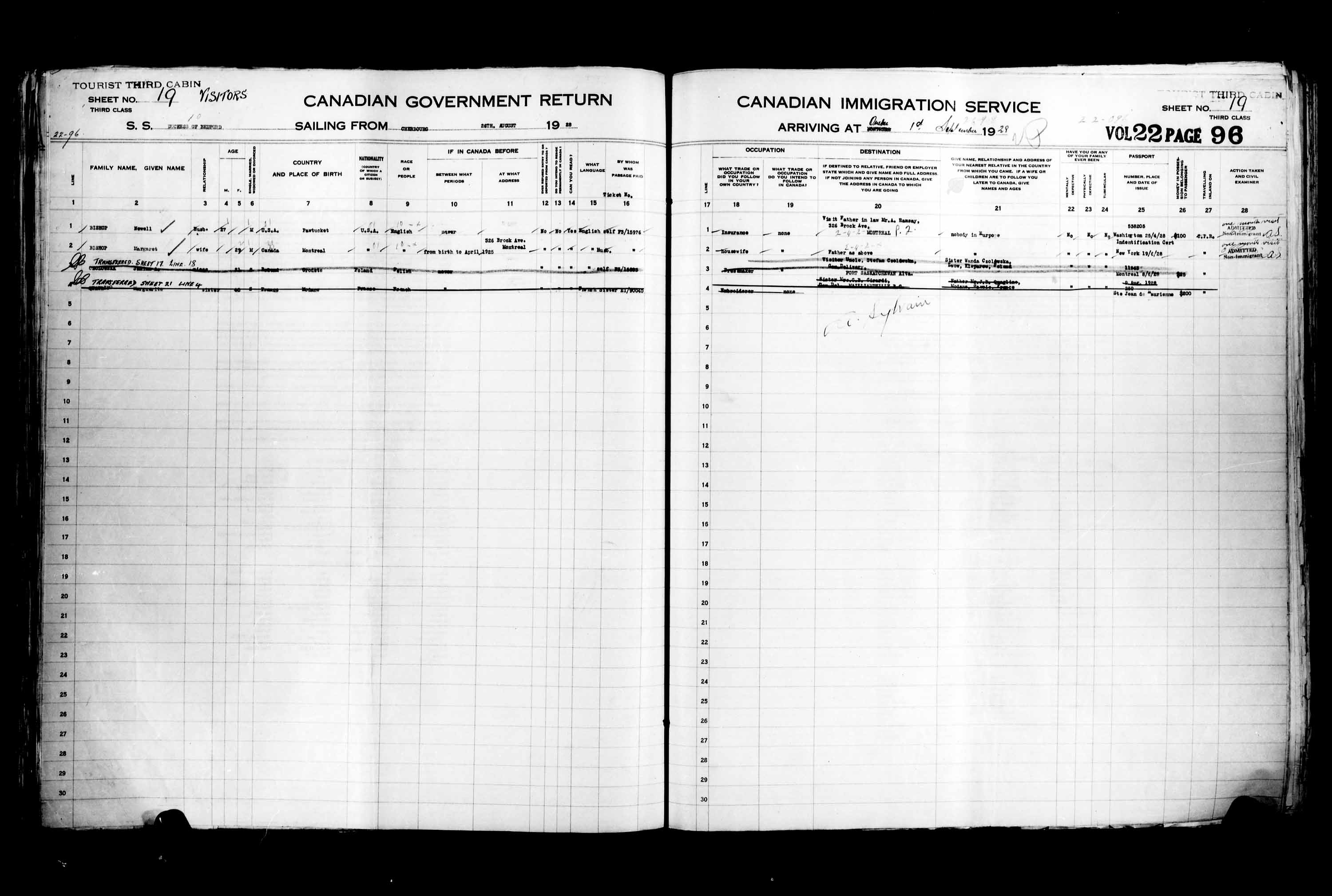 Title: Passenger Lists: Quebec City (1925-1935) - Mikan Number: 134839 - Microform: t-14748