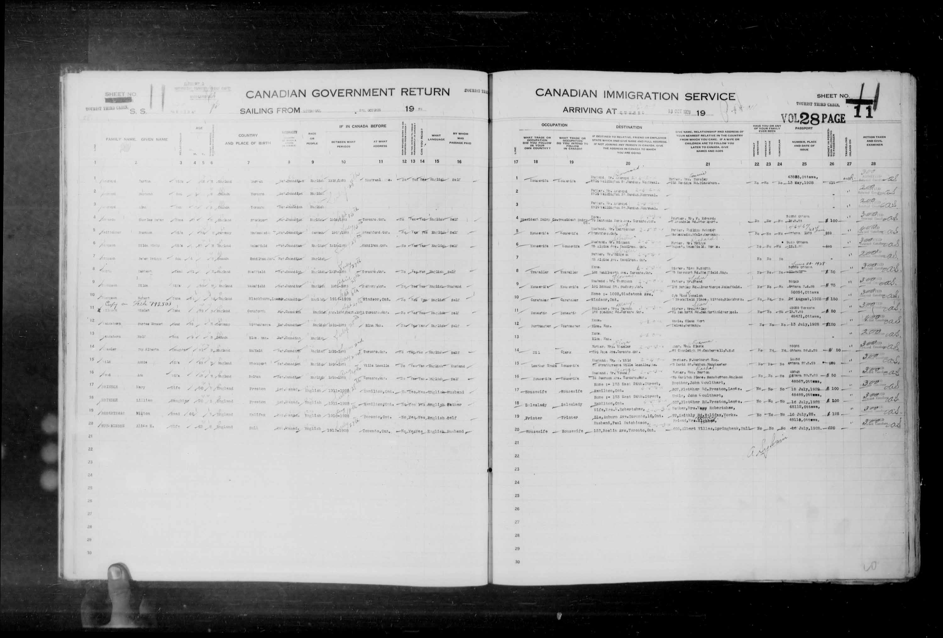 Title: Passenger Lists: Quebec City (1925-1935) - Mikan Number: 134839 - Microform: t-14749