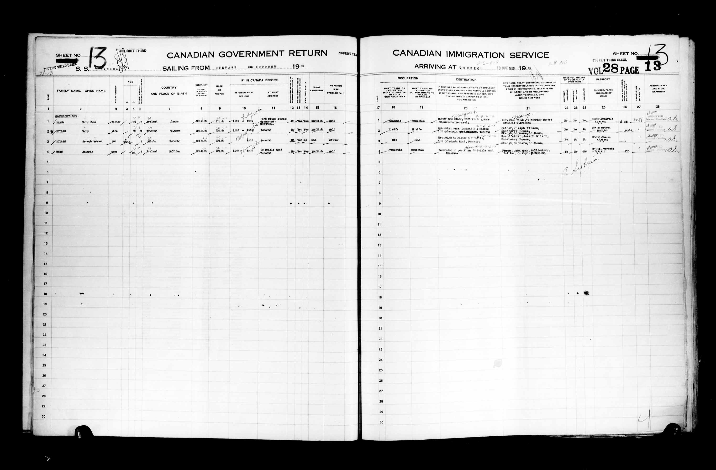 Title: Passenger Lists: Quebec City (1925-1935) - Mikan Number: 134839 - Microform: t-14750