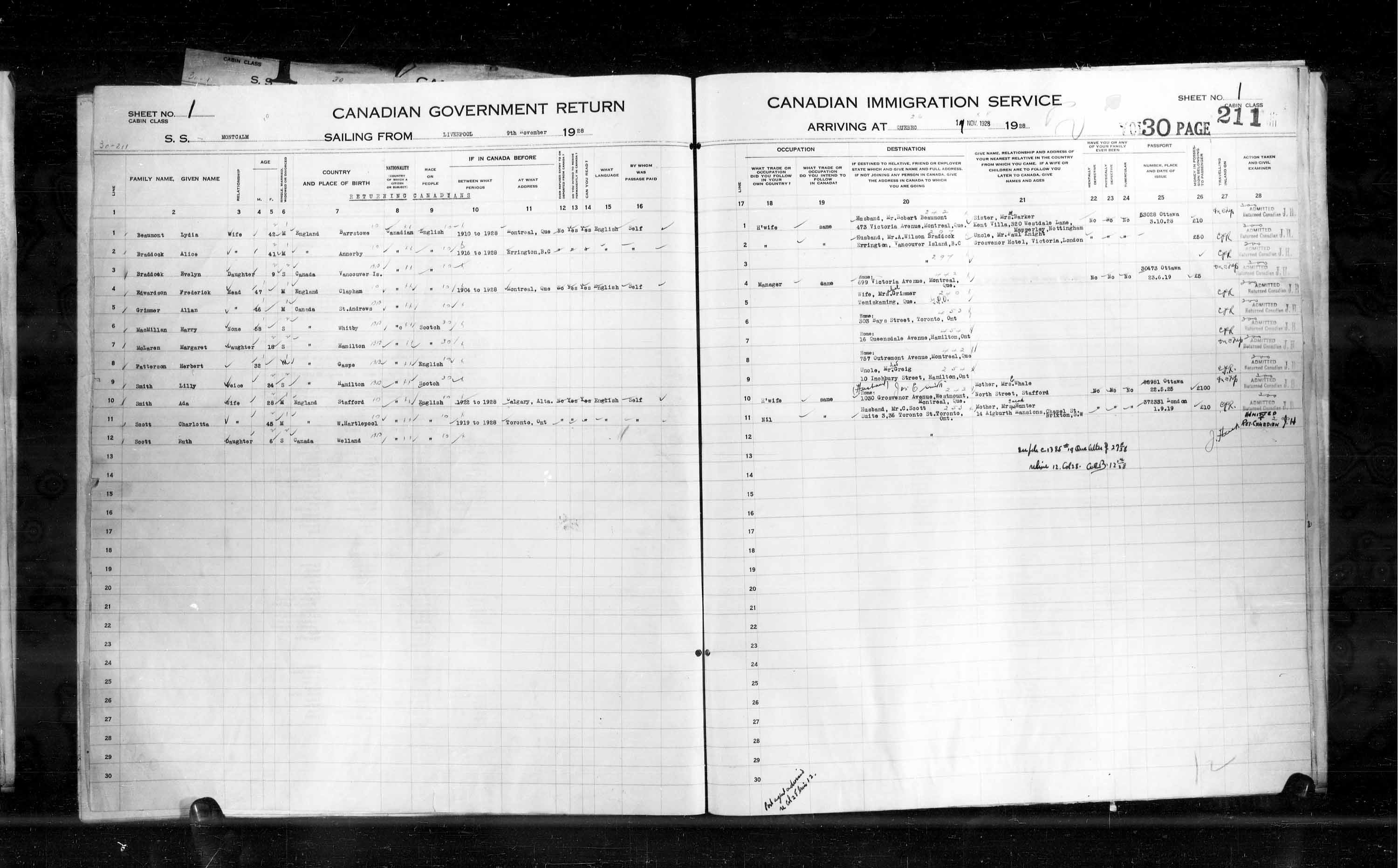 Title: Passenger Lists: Quebec City (1925-1935) - Mikan Number: 134839 - Microform: t-14751