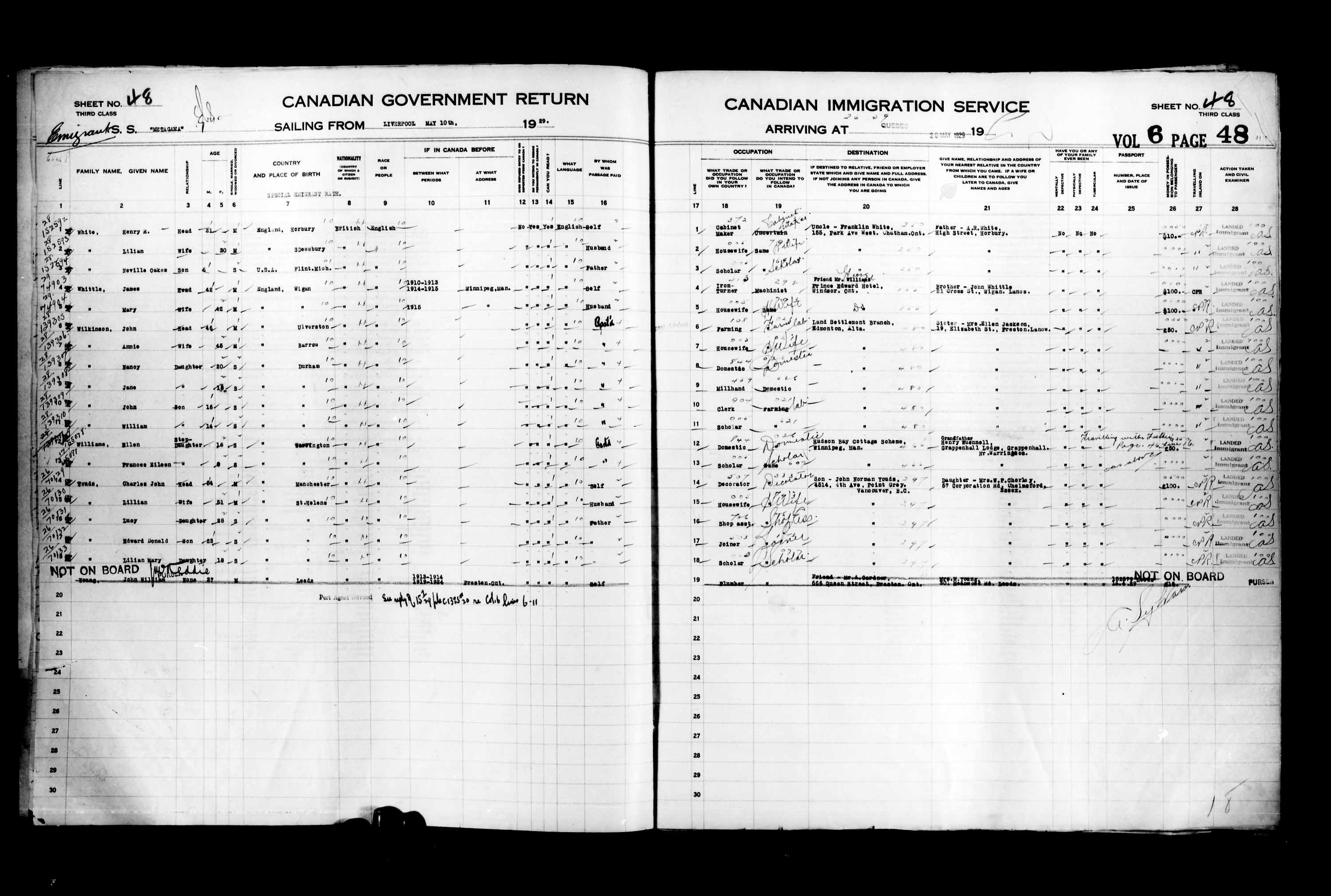 Title: Passenger Lists: Quebec City (1925-1935) - Mikan Number: 134839 - Microform: t-14752