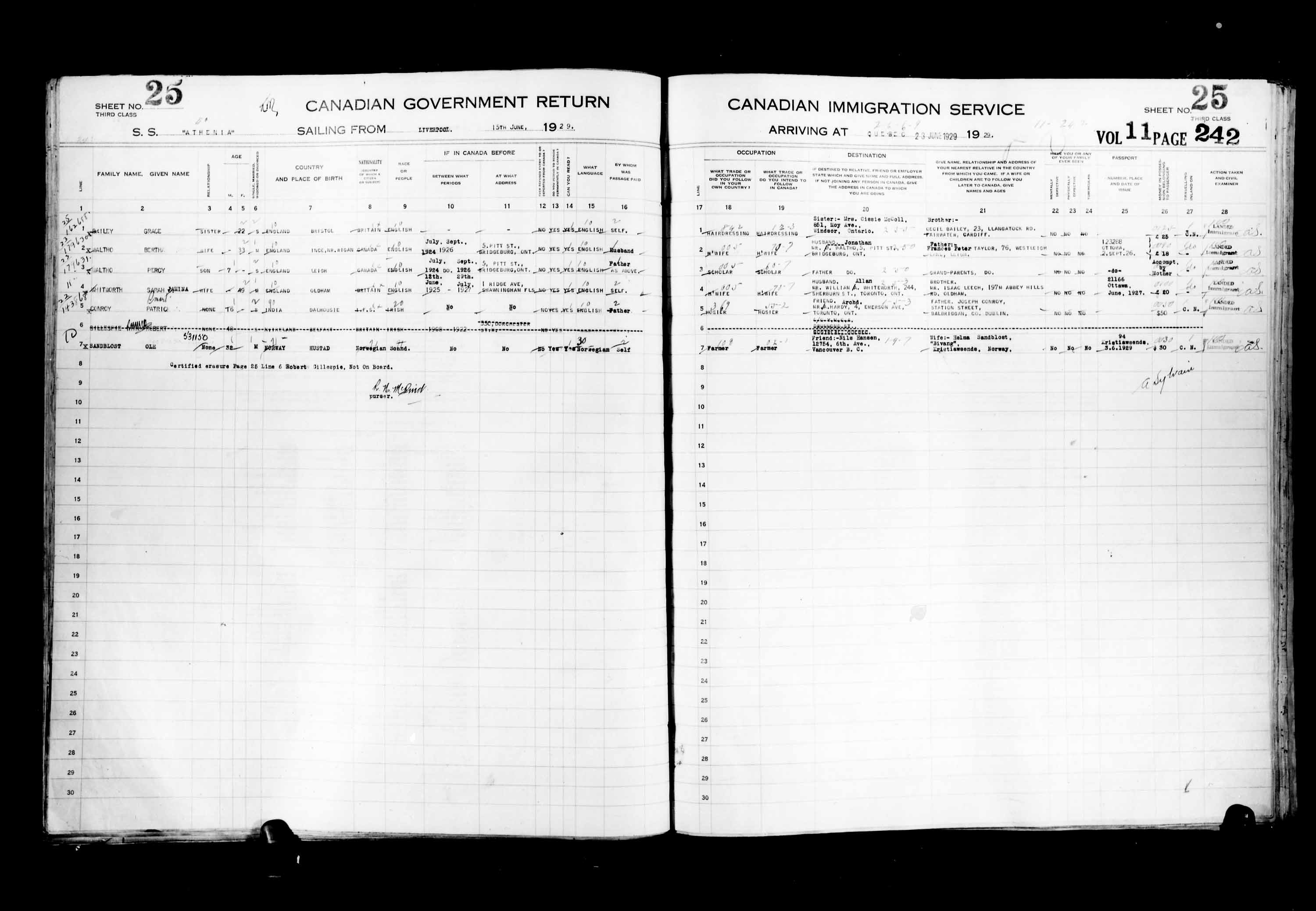 Title: Passenger Lists: Quebec City (1925-1935) - Mikan Number: 134839 - Microform: t-14754