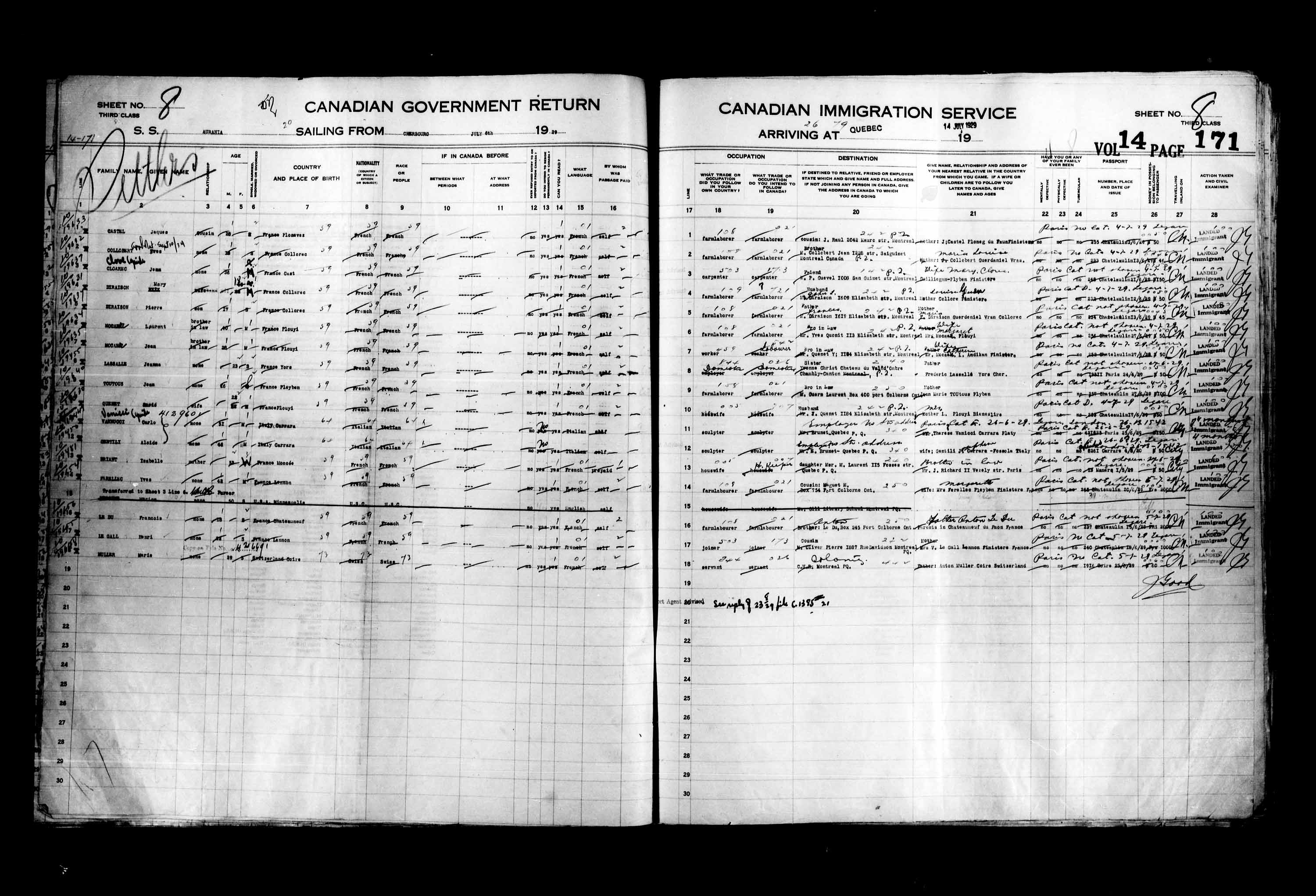 Title: Passenger Lists: Quebec City (1925-1935) - Mikan Number: 134839 - Microform: t-14756