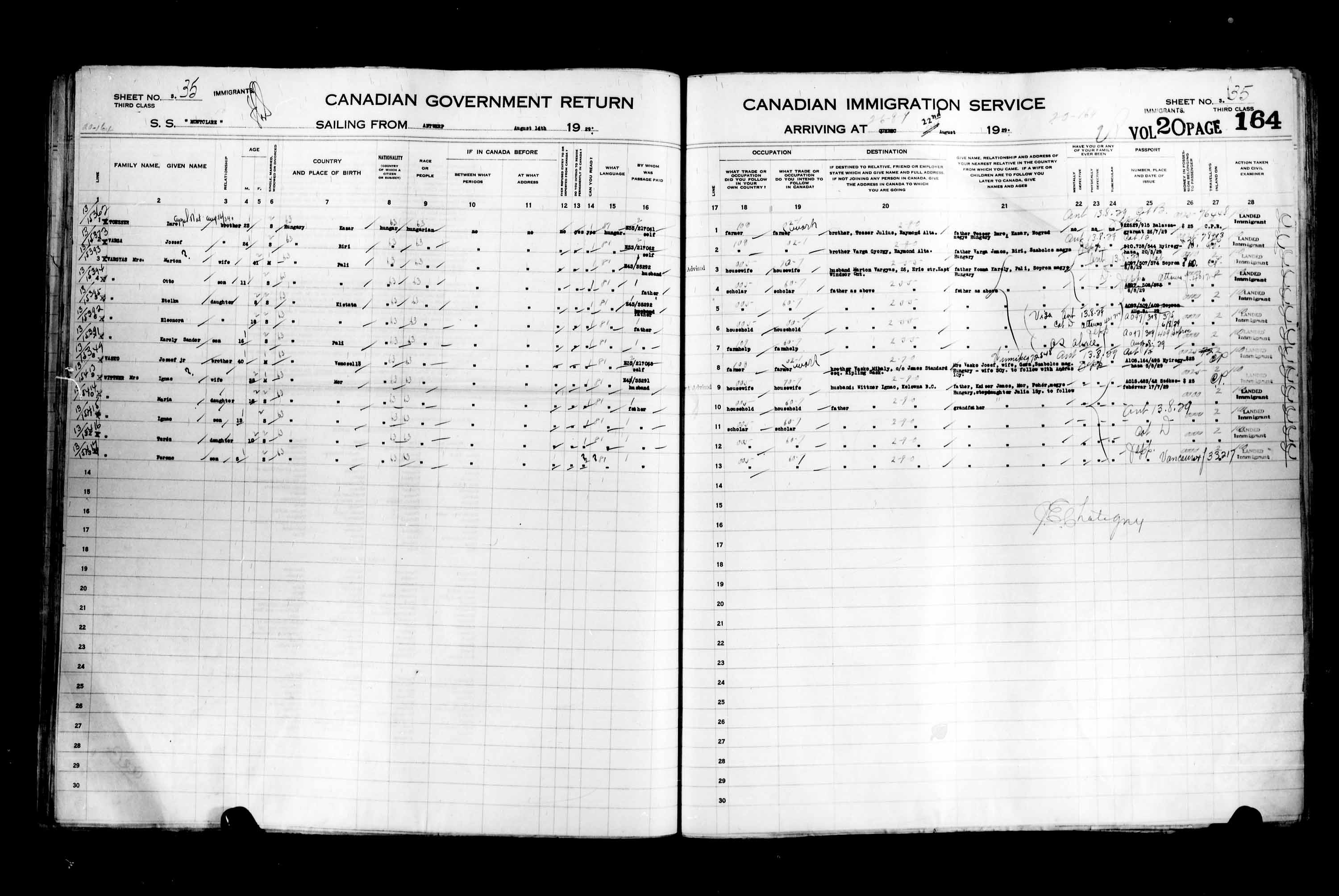 Title: Passenger Lists: Quebec City (1925-1935) - Mikan Number: 134839 - Microform: t-14757