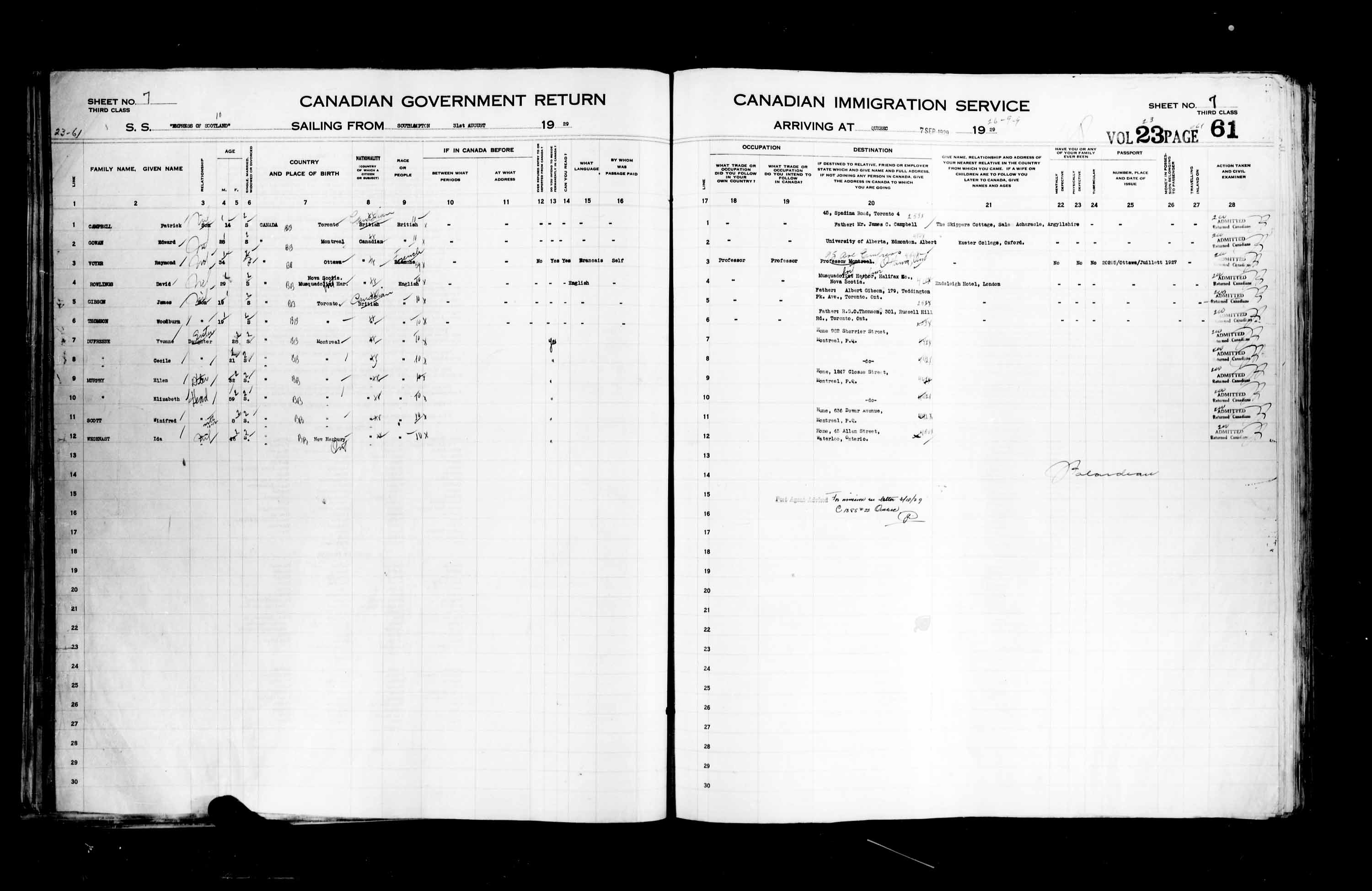 Title: Passenger Lists: Quebec City (1925-1935) - Mikan Number: 134839 - Microform: t-14758