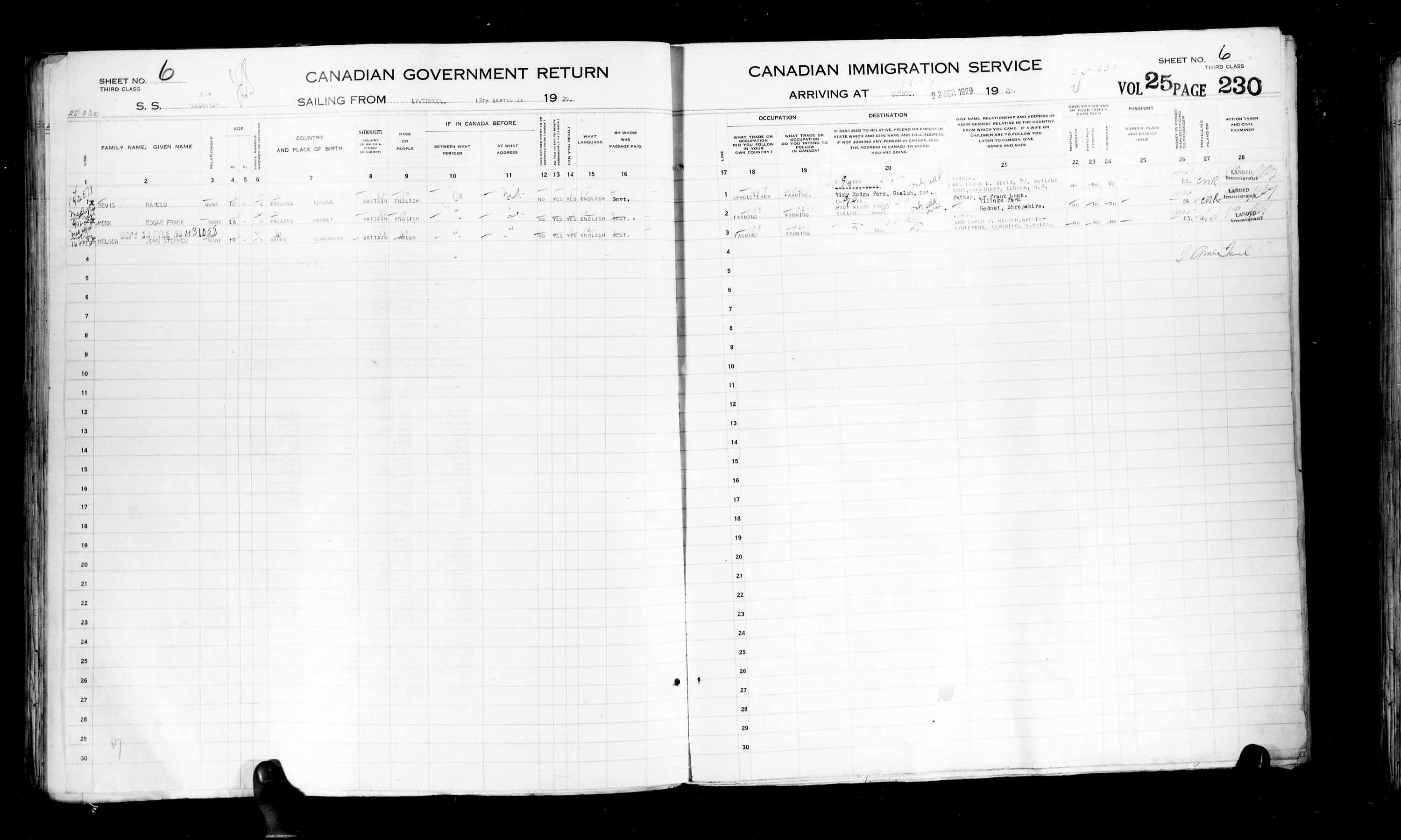 Title: Passenger Lists: Quebec City (1925-1935) - Mikan Number: 134839 - Microform: t-14759