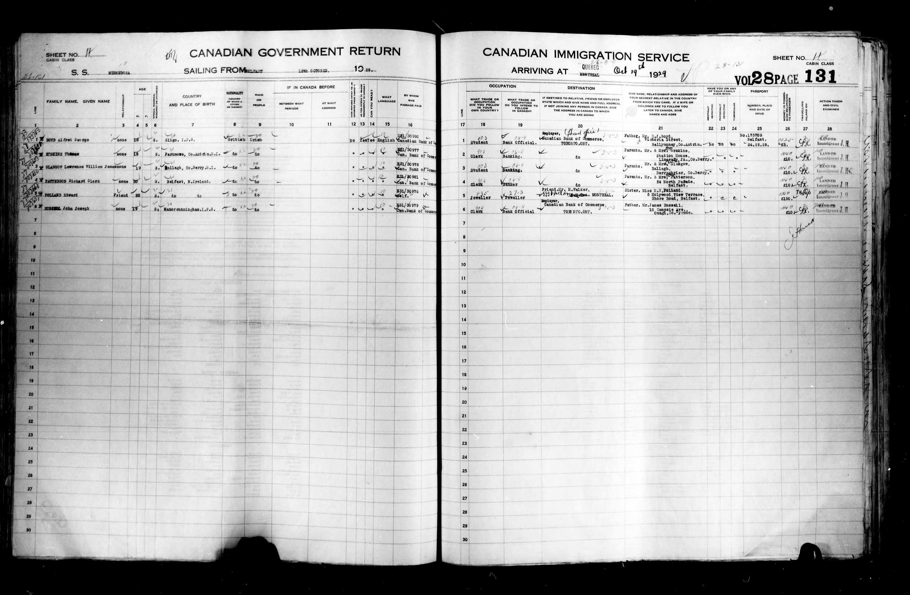Title: Passenger Lists: Quebec City (1925-1935) - Mikan Number: 134839 - Microform: t-14760