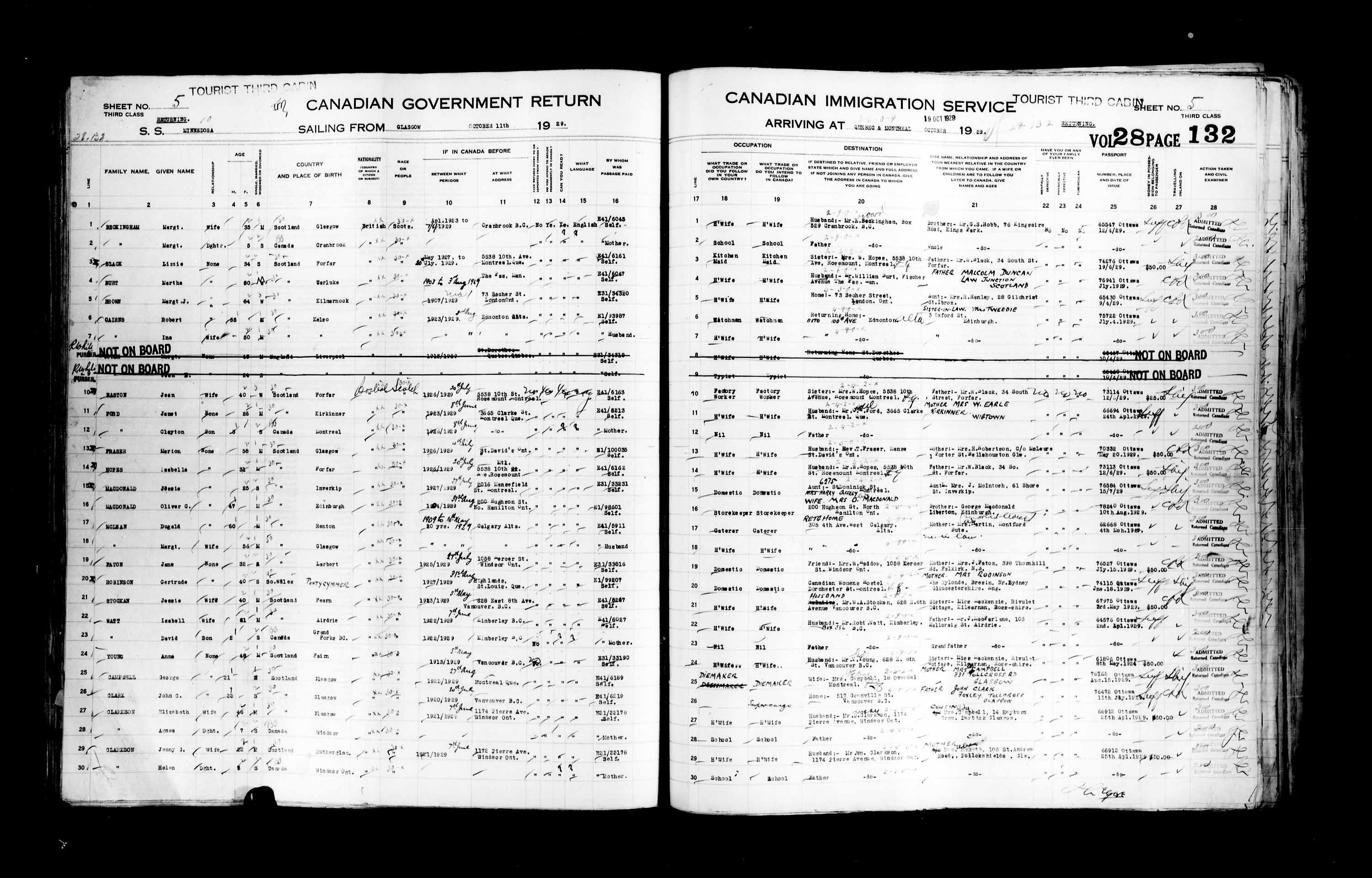 Title: Passenger Lists: Quebec City (1925-1935) - Mikan Number: 134839 - Microform: t-14761
