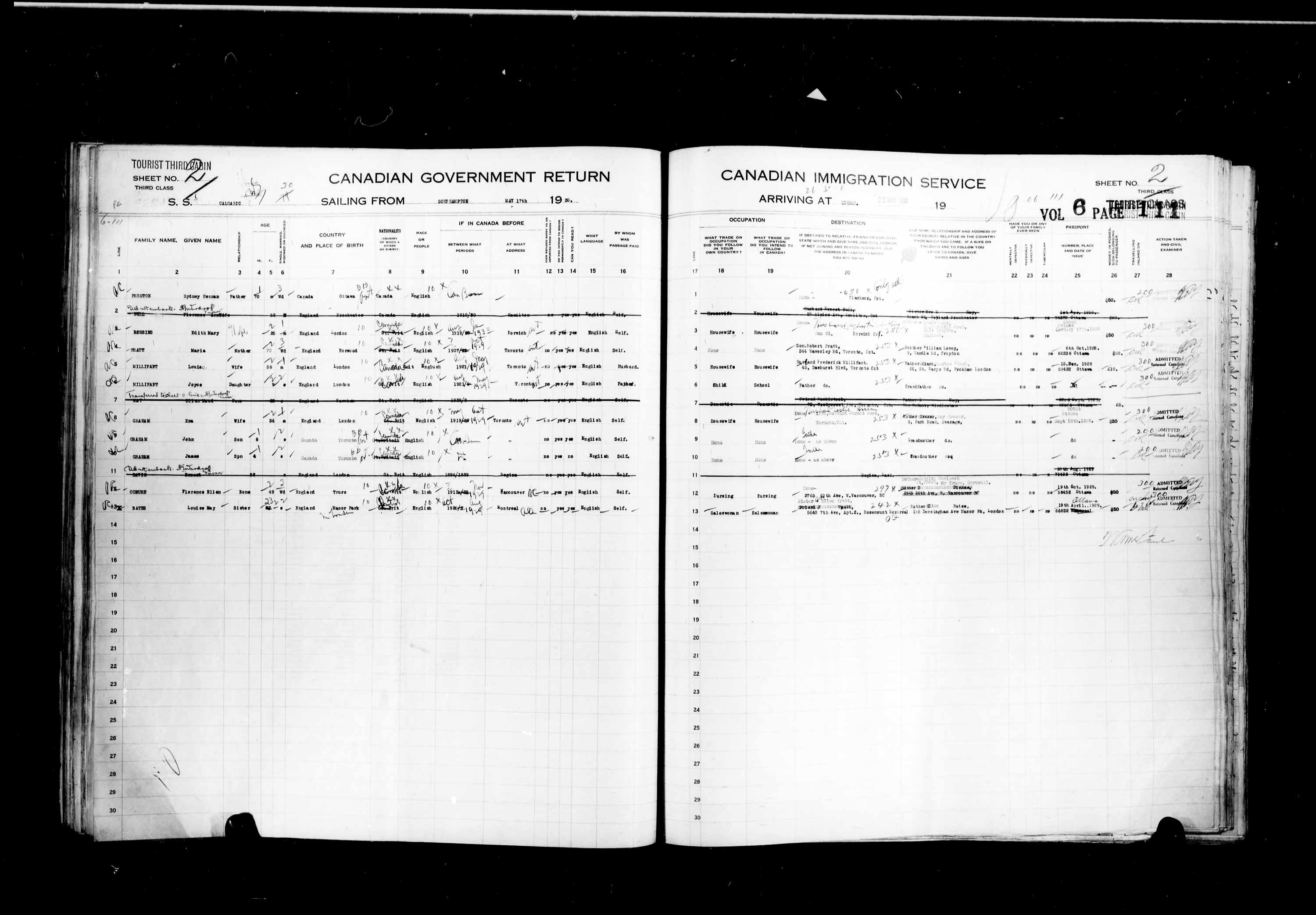 Title: Passenger Lists: Quebec City (1925-1935) - Mikan Number: 134839 - Microform: t-14763