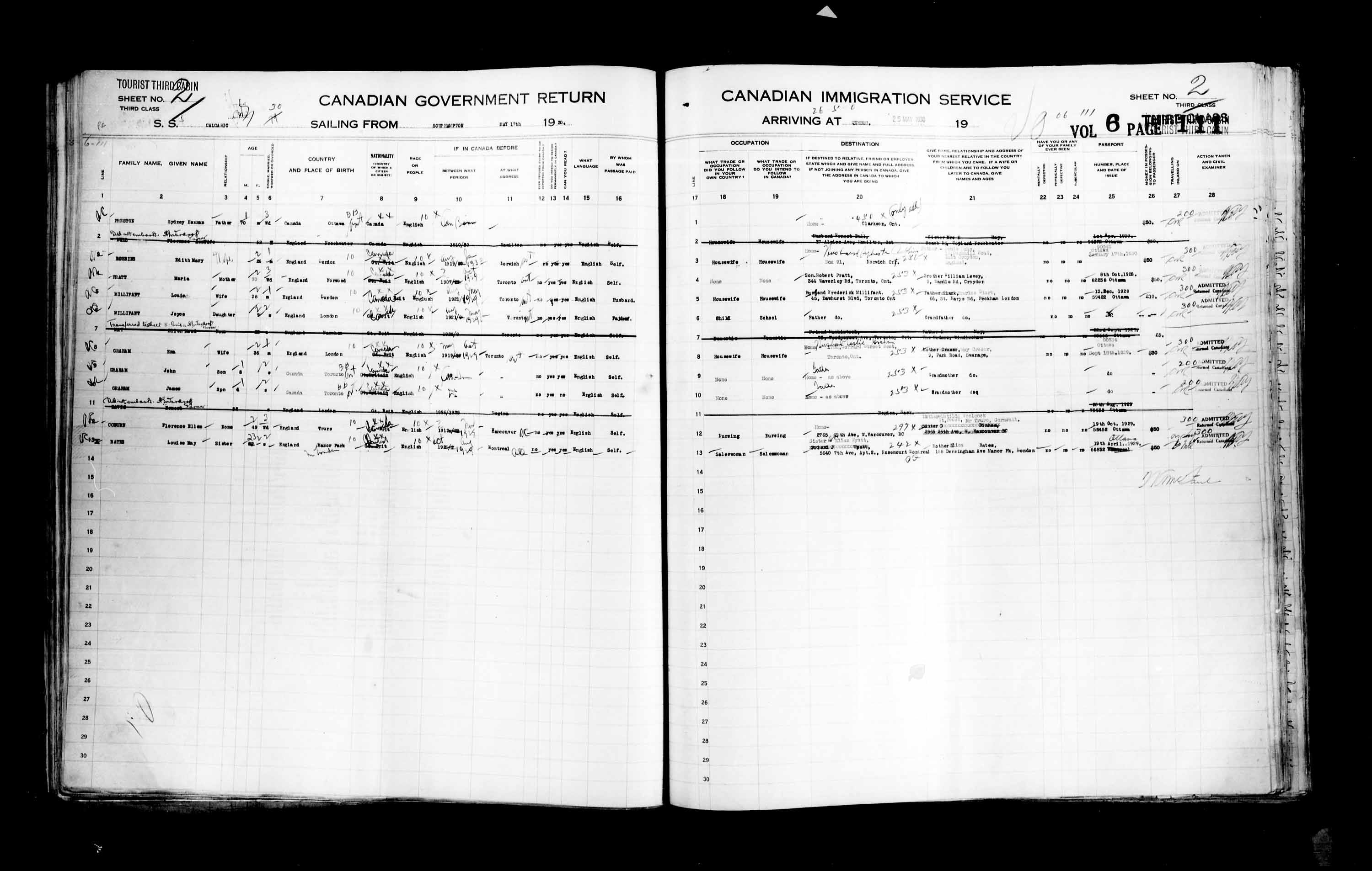 Title: Passenger Lists: Quebec City (1925-1935) - Mikan Number: 134839 - Microform: t-14764