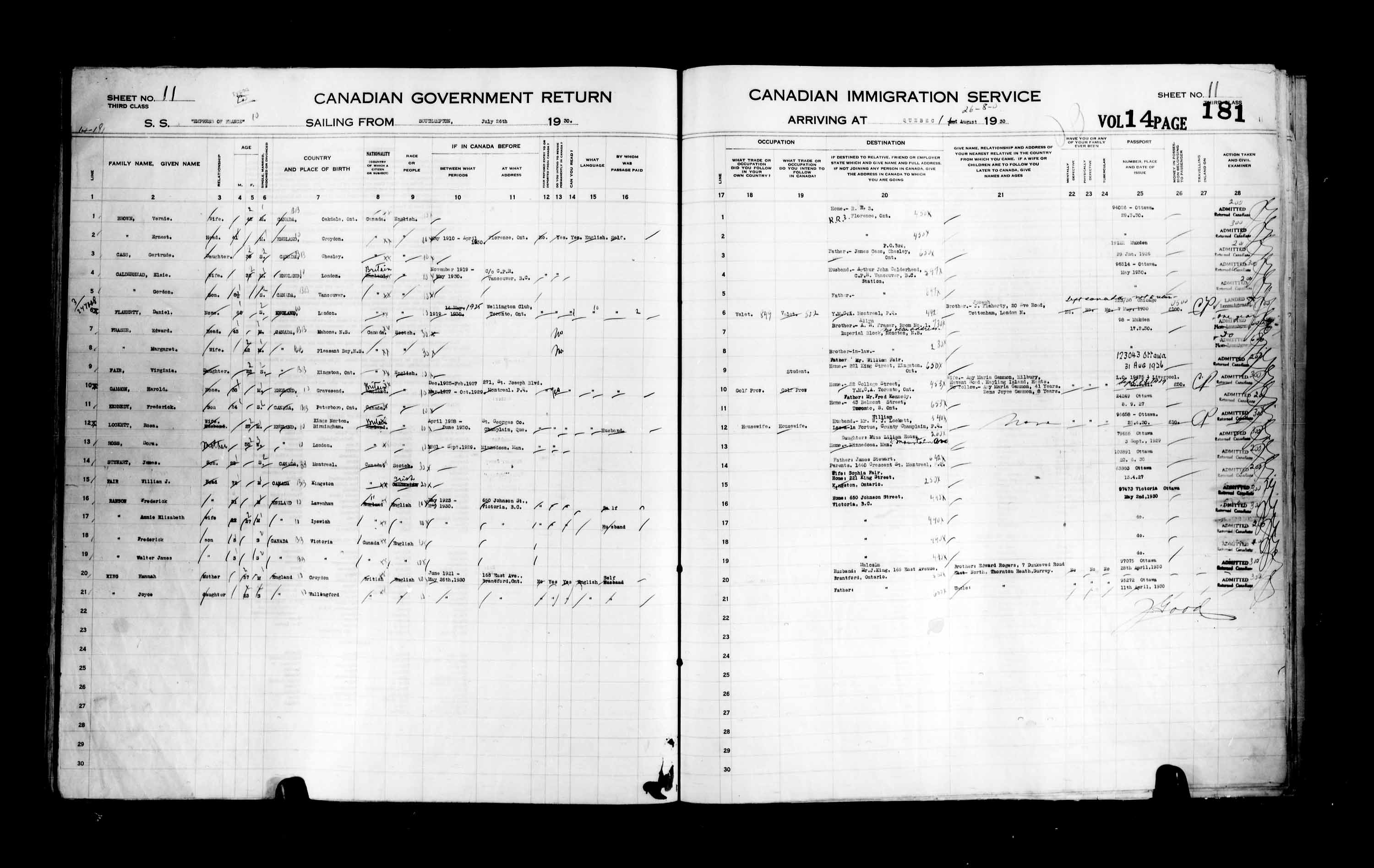 Title: Passenger Lists: Quebec City (1925-1935) - Mikan Number: 134839 - Microform: t-14766