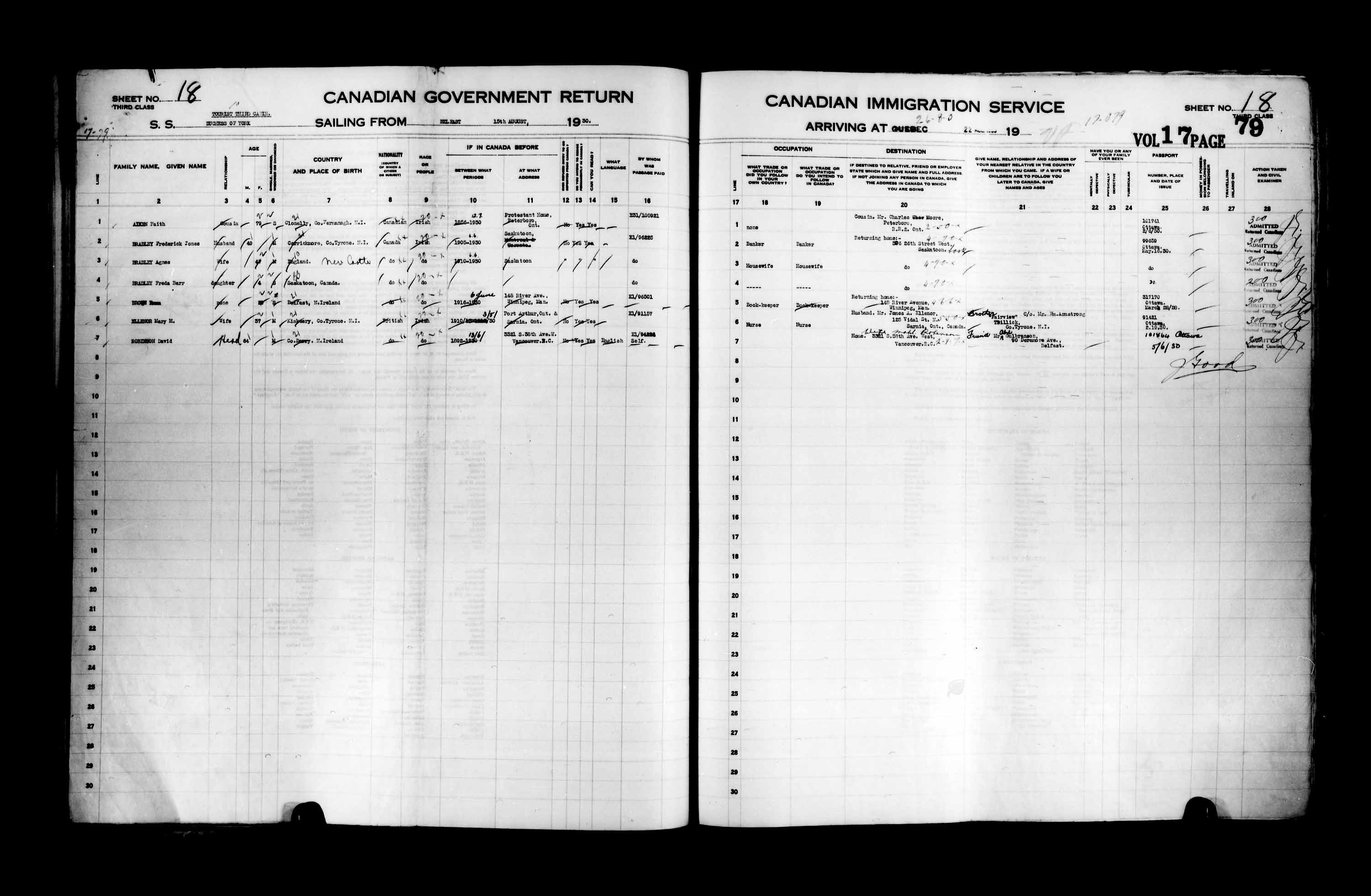 Title: Passenger Lists: Quebec City (1925-1935) - Mikan Number: 134839 - Microform: t-14767