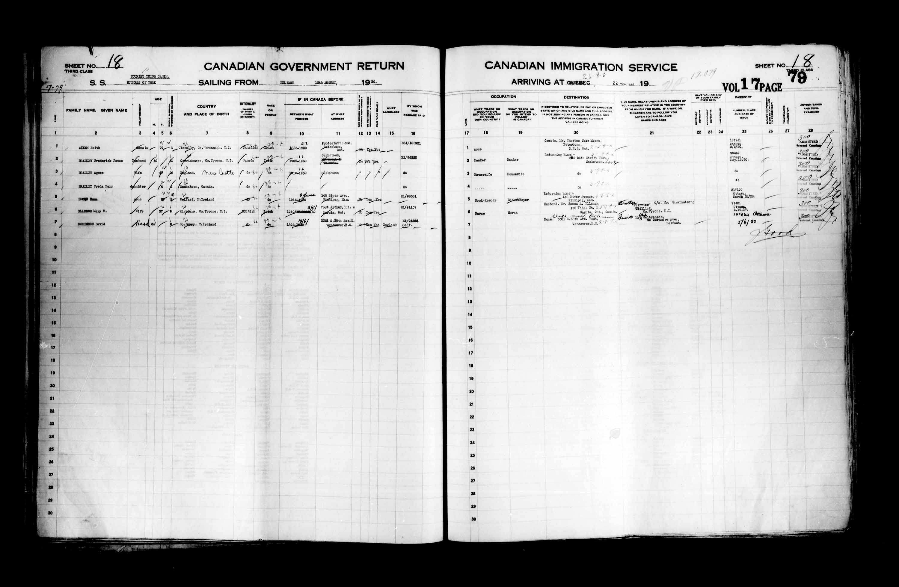 Title: Passenger Lists: Quebec City (1925-1935) - Mikan Number: 134839 - Microform: t-14768