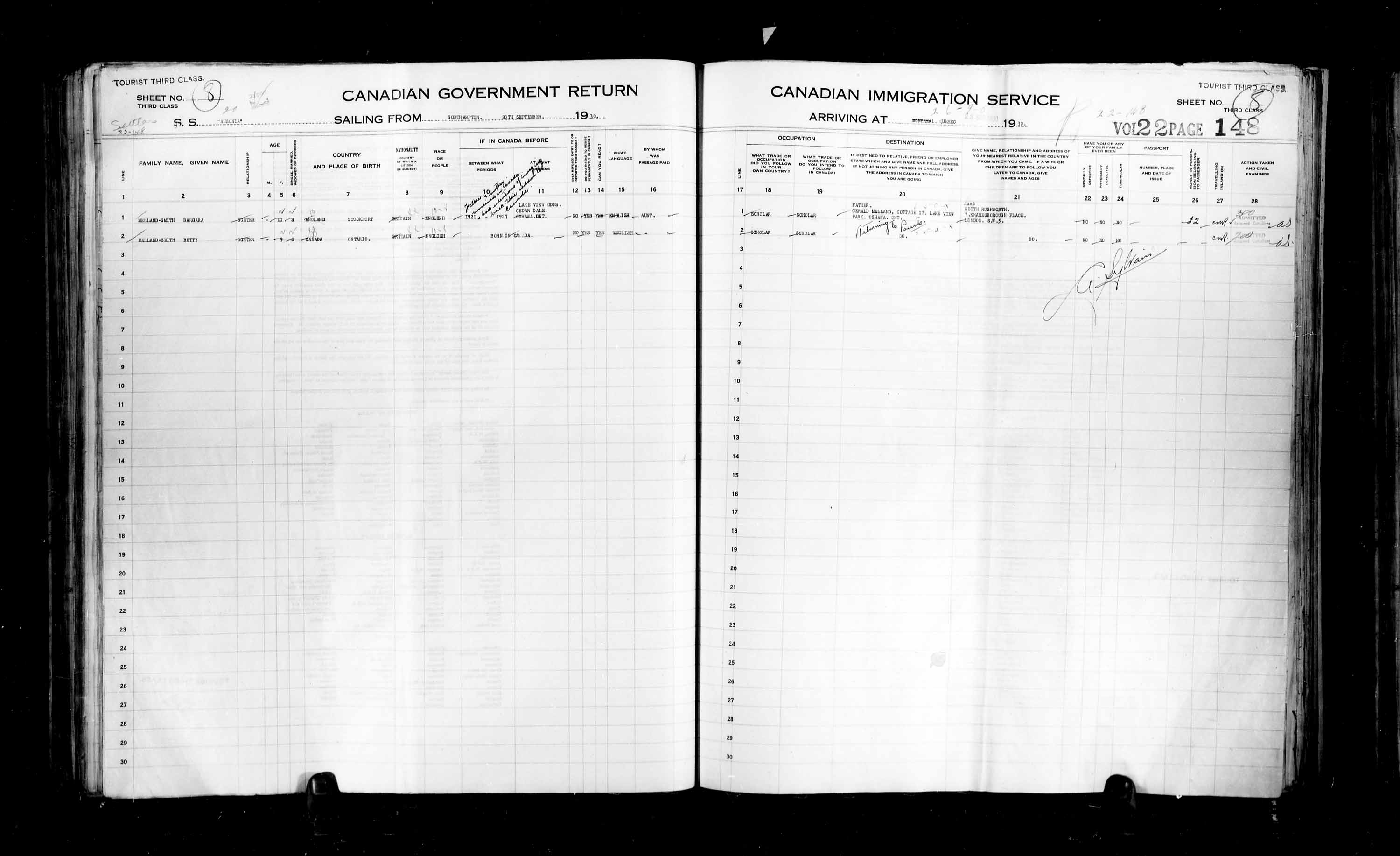 Title: Passenger Lists: Quebec City (1925-1935) - Mikan Number: 134839 - Microform: t-14769