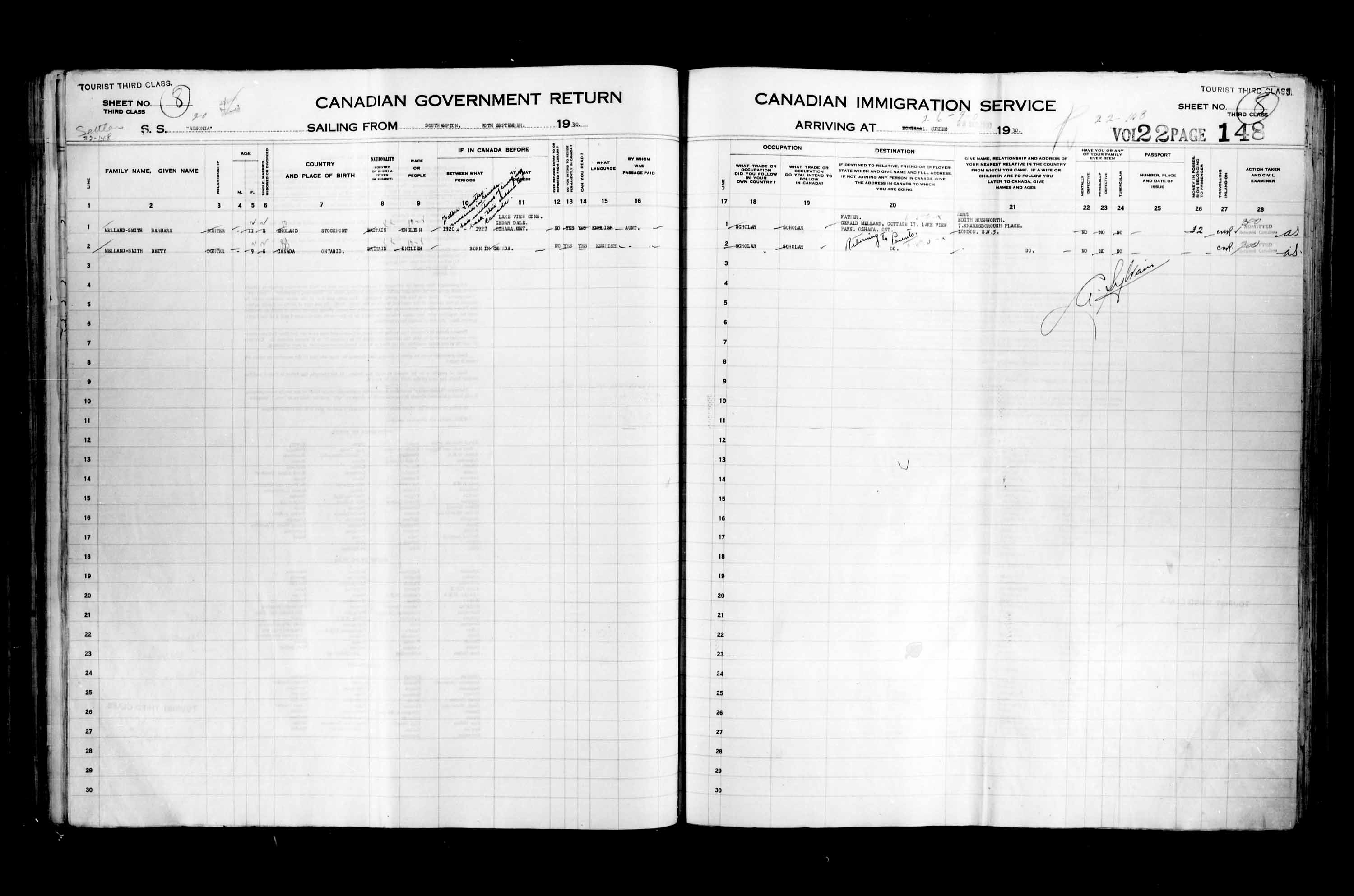 Title: Passenger Lists: Quebec City (1925-1935) - Mikan Number: 134839 - Microform: t-14770