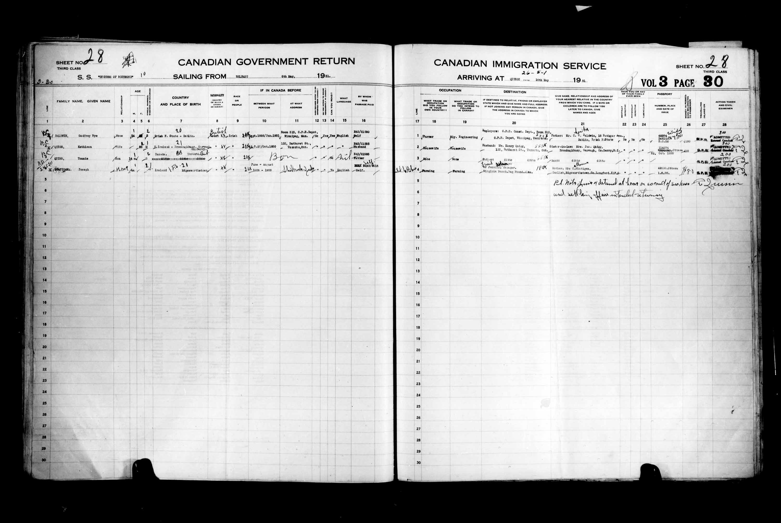 Title: Passenger Lists: Quebec City (1925-1935) - Mikan Number: 134839 - Microform: t-14771