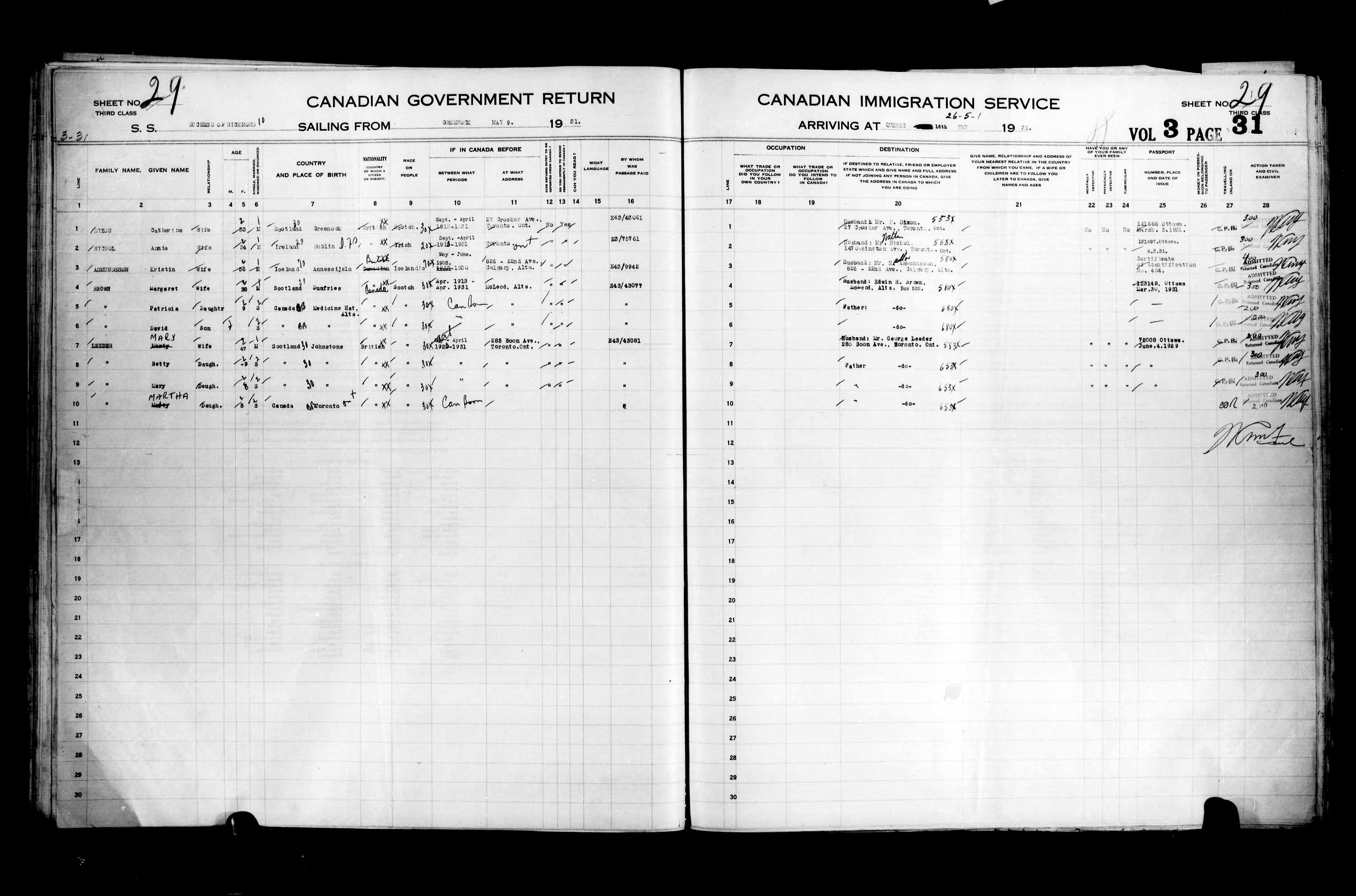 Title: Passenger Lists: Quebec City (1925-1935) - Mikan Number: 134839 - Microform: t-14772