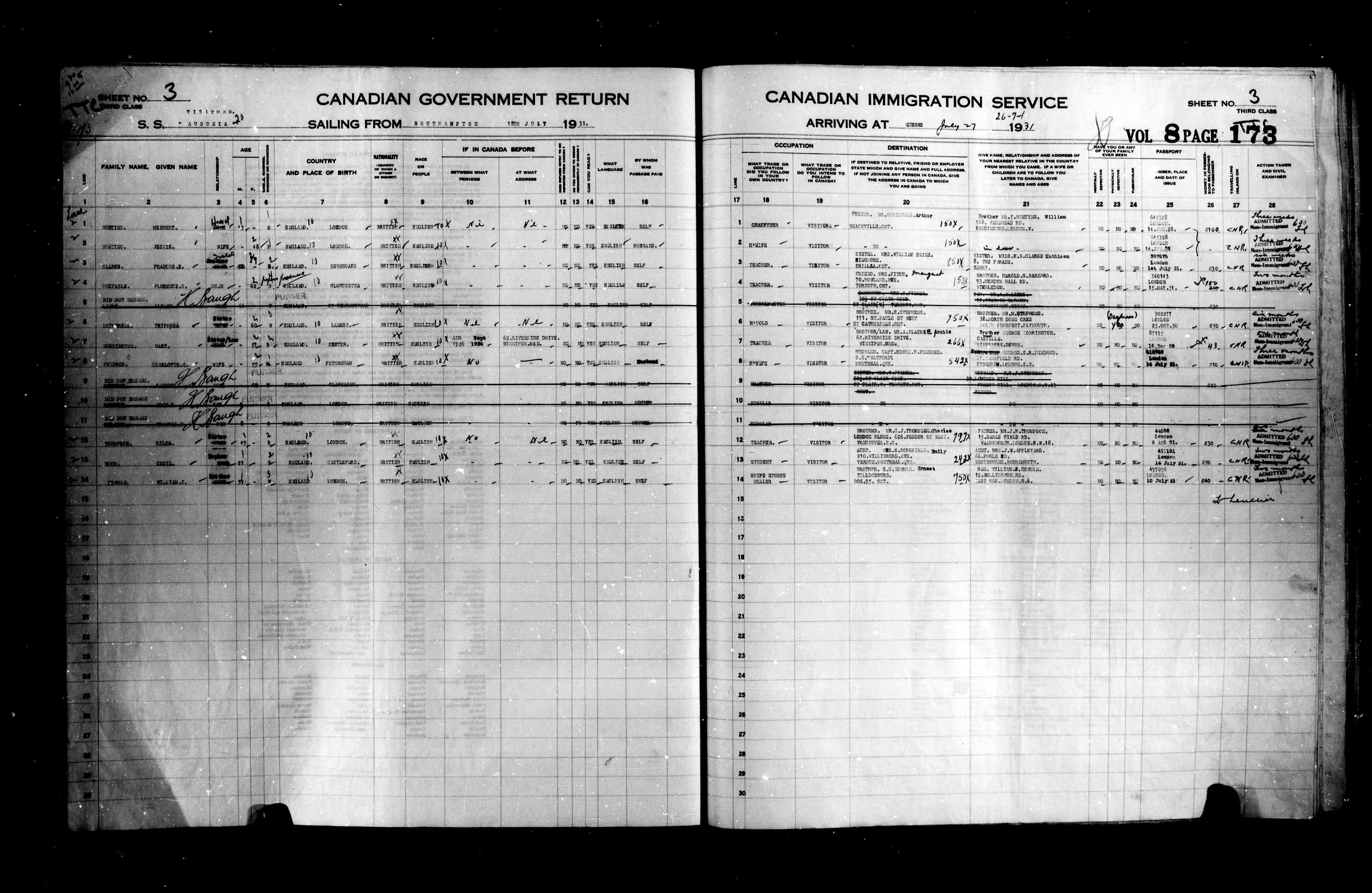 Title: Passenger Lists: Quebec City (1925-1935) - Mikan Number: 134839 - Microform: t-14774