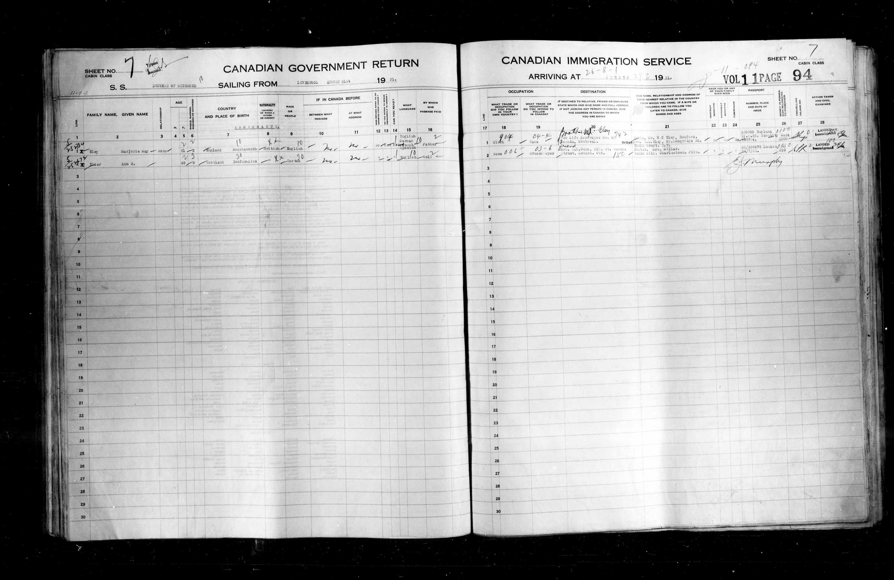 Title: Passenger Lists: Quebec City (1925-1935) - Mikan Number: 134839 - Microform: t-14775