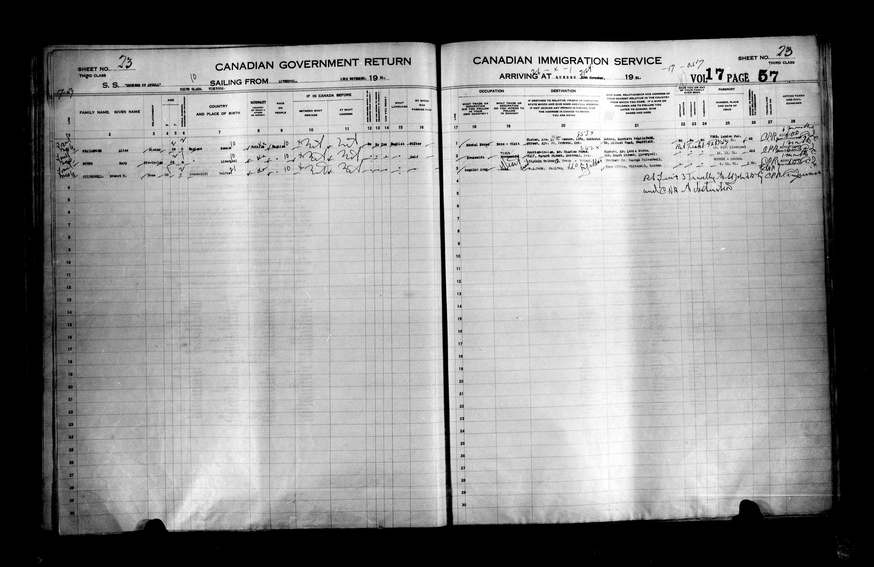 Title: Passenger Lists: Quebec City (1925-1935) - Mikan Number: 134839 - Microform: t-14777