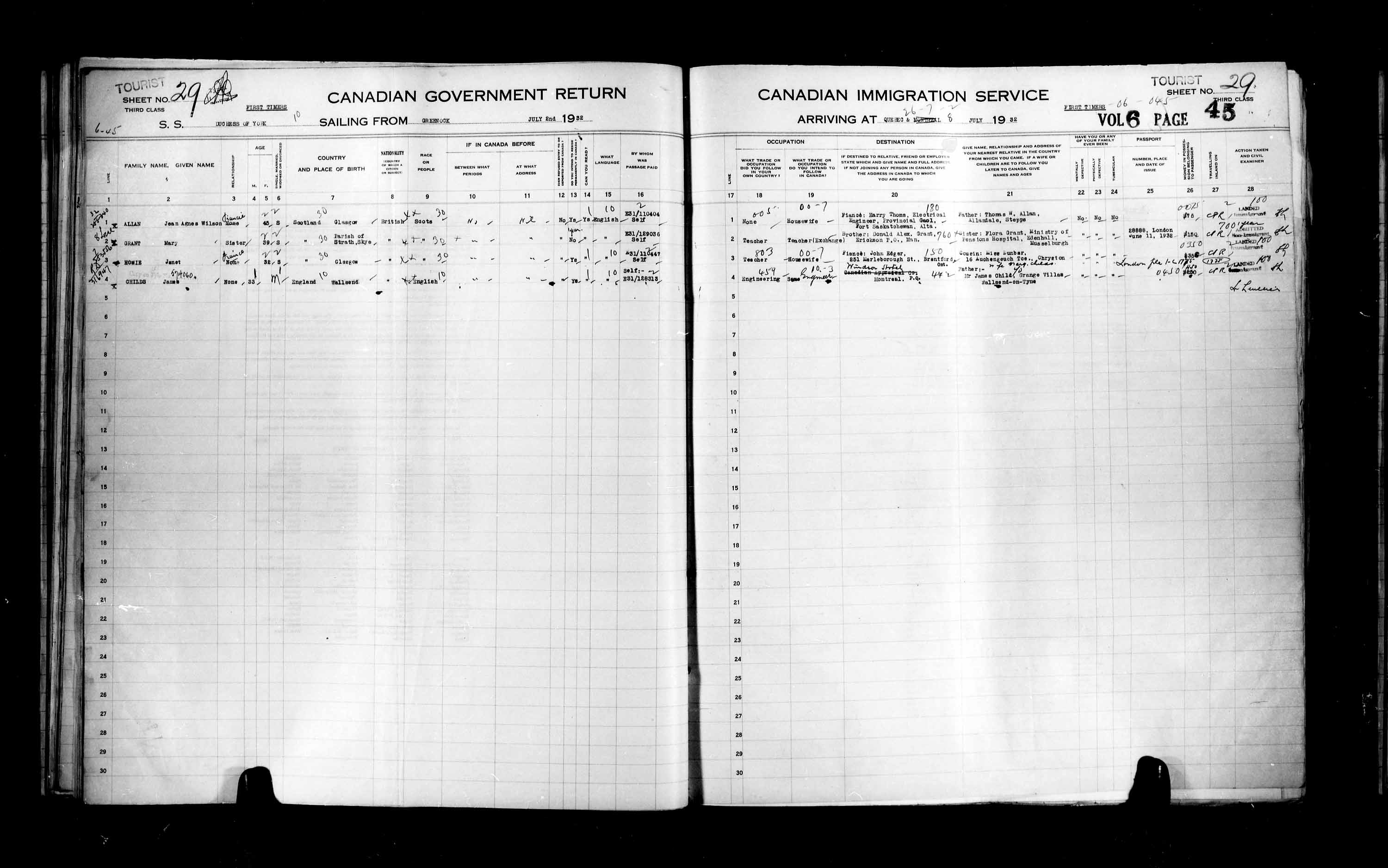 Title: Passenger Lists: Quebec City (1925-1935) - Mikan Number: 134839 - Microform: t-14778