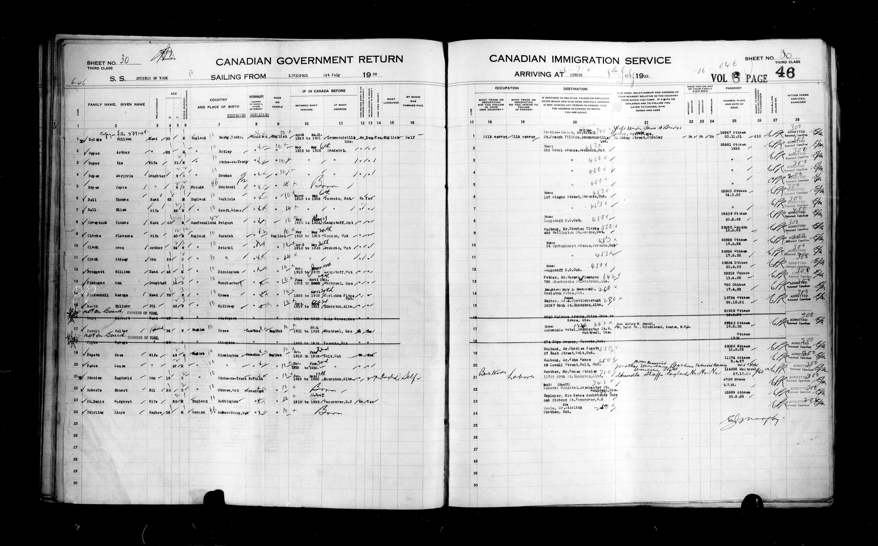 Title: Passenger Lists: Quebec City (1925-1935) - Mikan Number: 134839 - Microform: t-14779