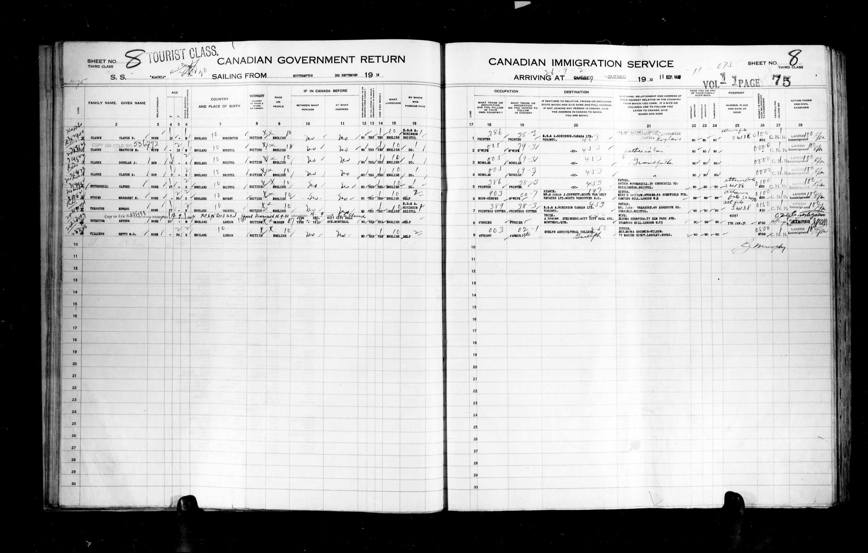 Title: Passenger Lists: Quebec City (1925-1935) - Mikan Number: 134839 - Microform: t-14781