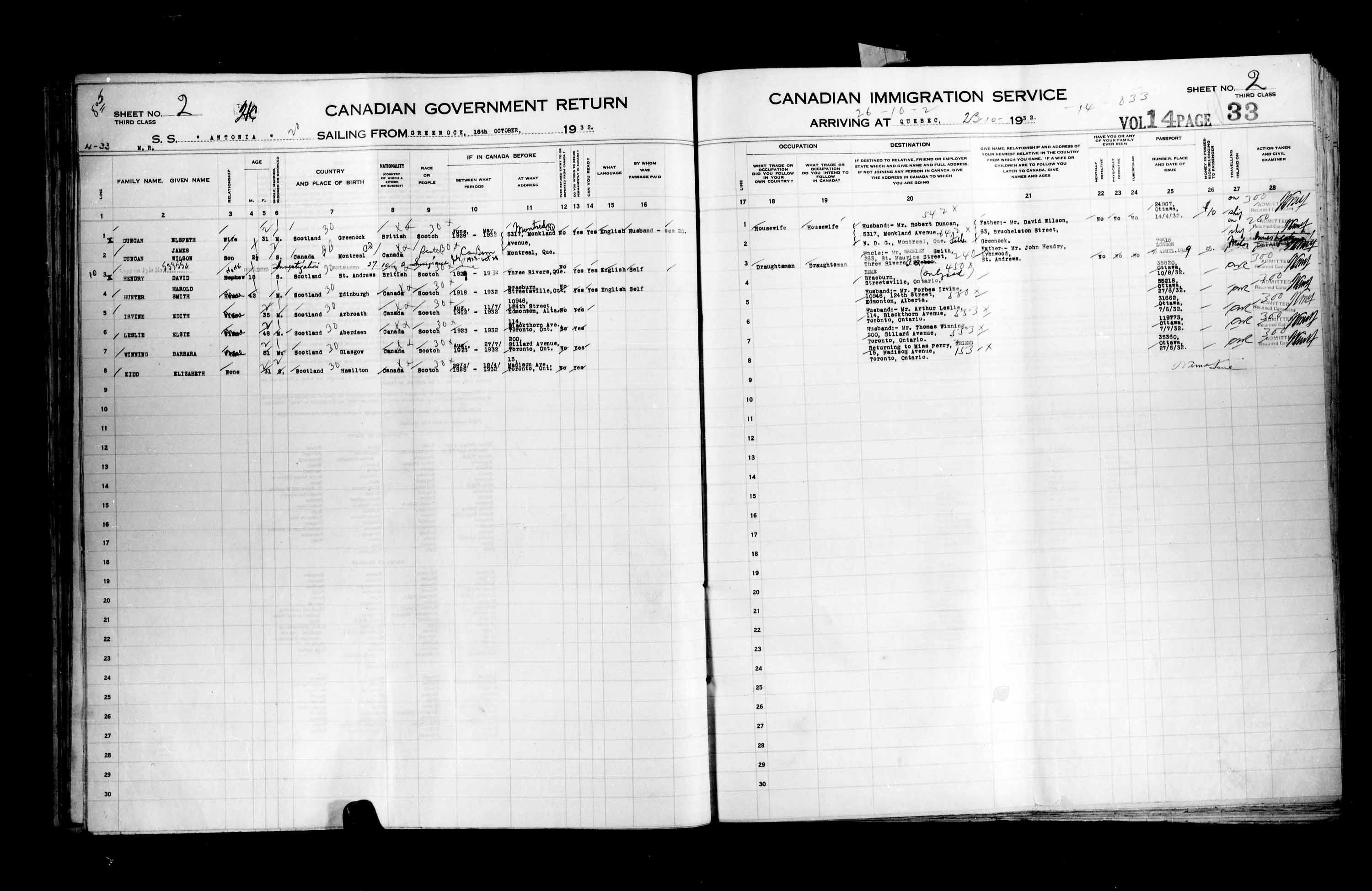 Title: Passenger Lists: Quebec City (1925-1935) - Mikan Number: 134839 - Microform: t-14782