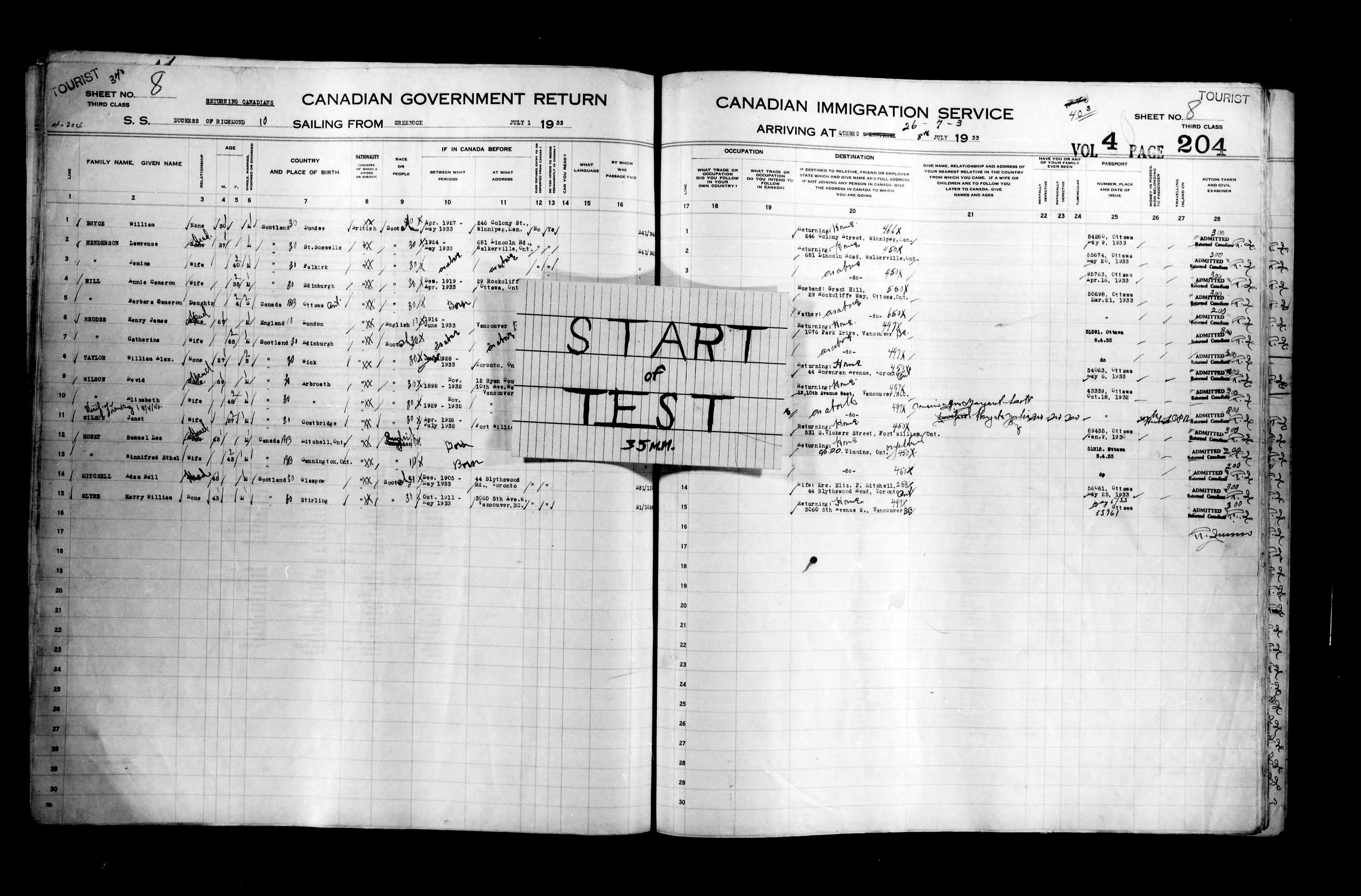 Title: Passenger Lists: Quebec City (1925-1935) - Mikan Number: 134839 - Microform: t-14783