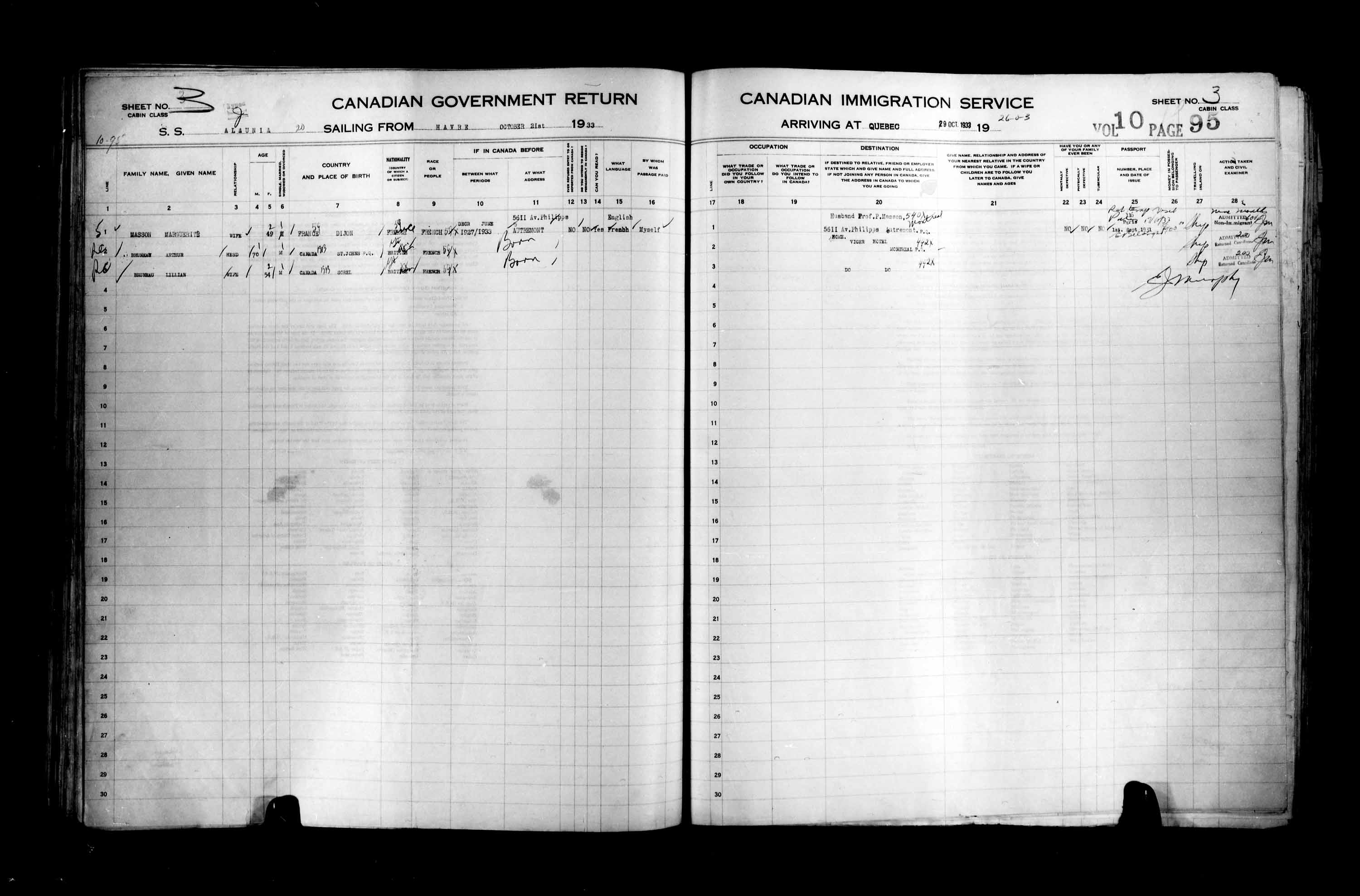Title: Passenger Lists: Quebec City (1925-1935) - Mikan Number: 134839 - Microform: t-14785