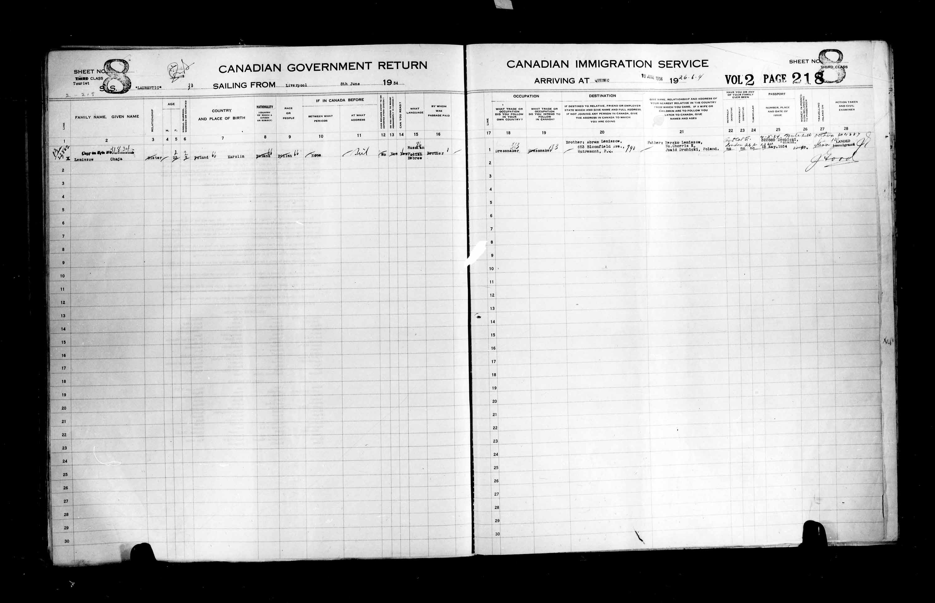 Title: Passenger Lists: Quebec City (1925-1935) - Mikan Number: 134839 - Microform: t-14786