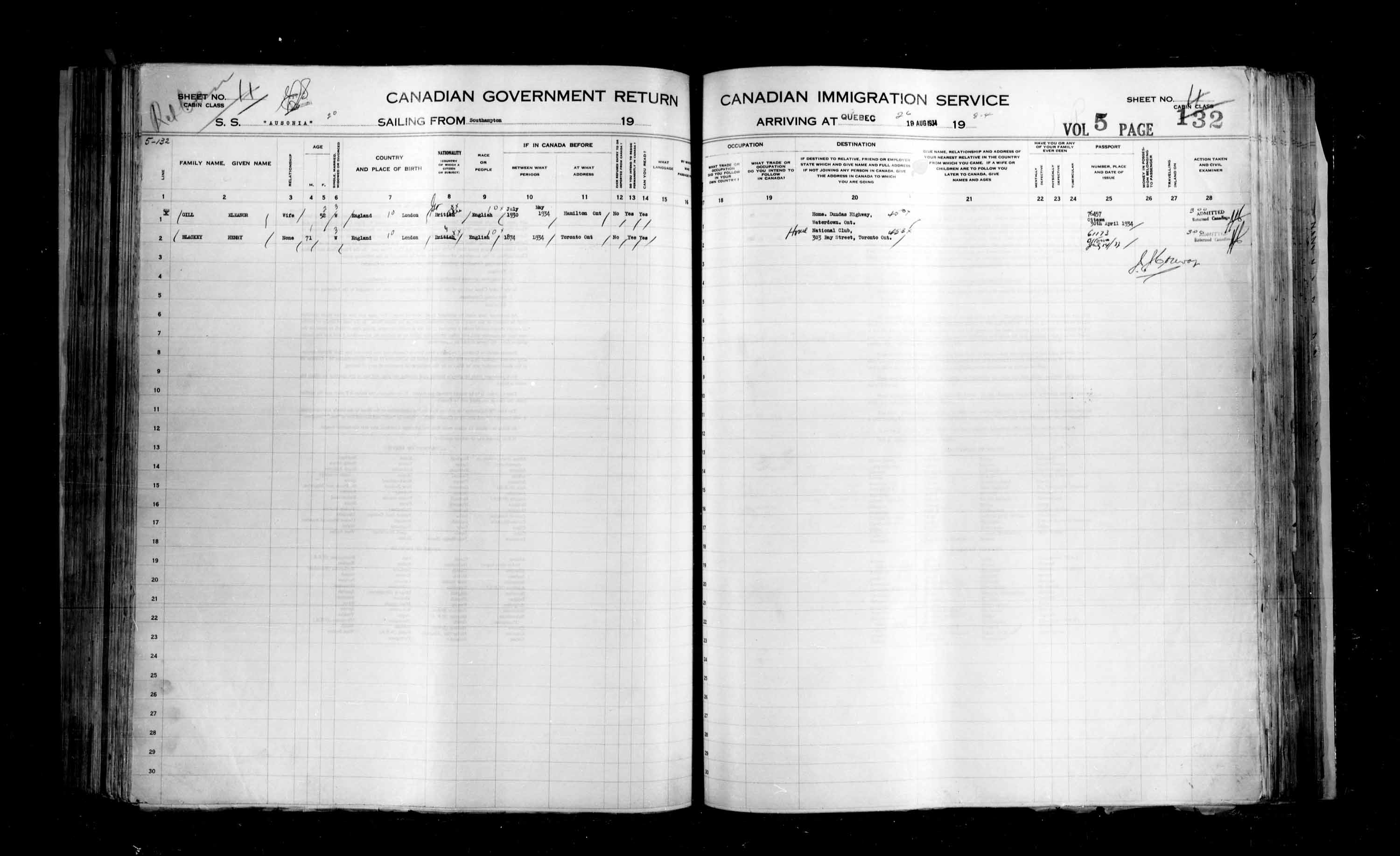 Title: Passenger Lists: Quebec City (1925-1935) - Mikan Number: 134839 - Microform: t-14788