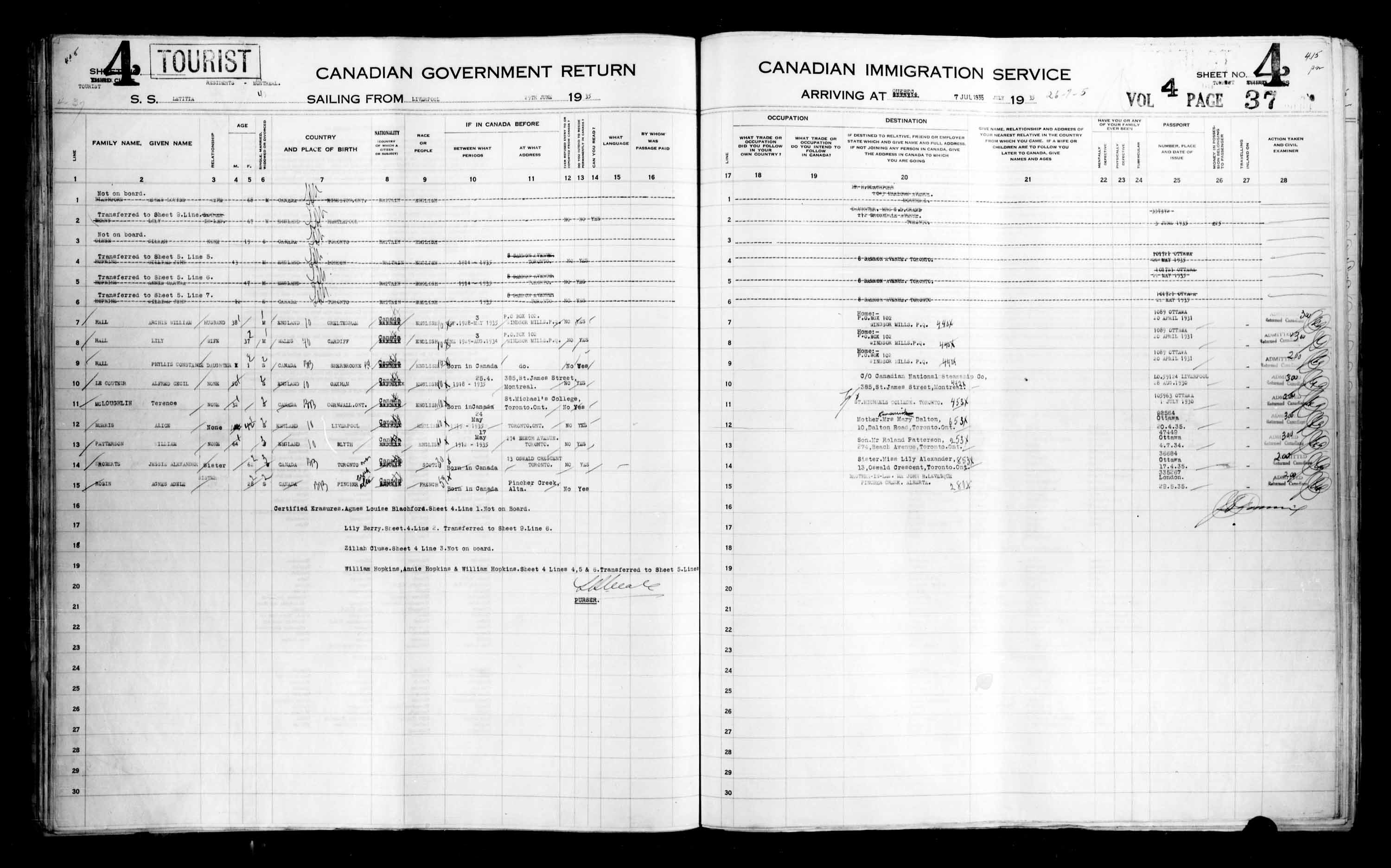 Title: Passenger Lists: Quebec City (1925-1935) - Mikan Number: 134839 - Microform: t-14791