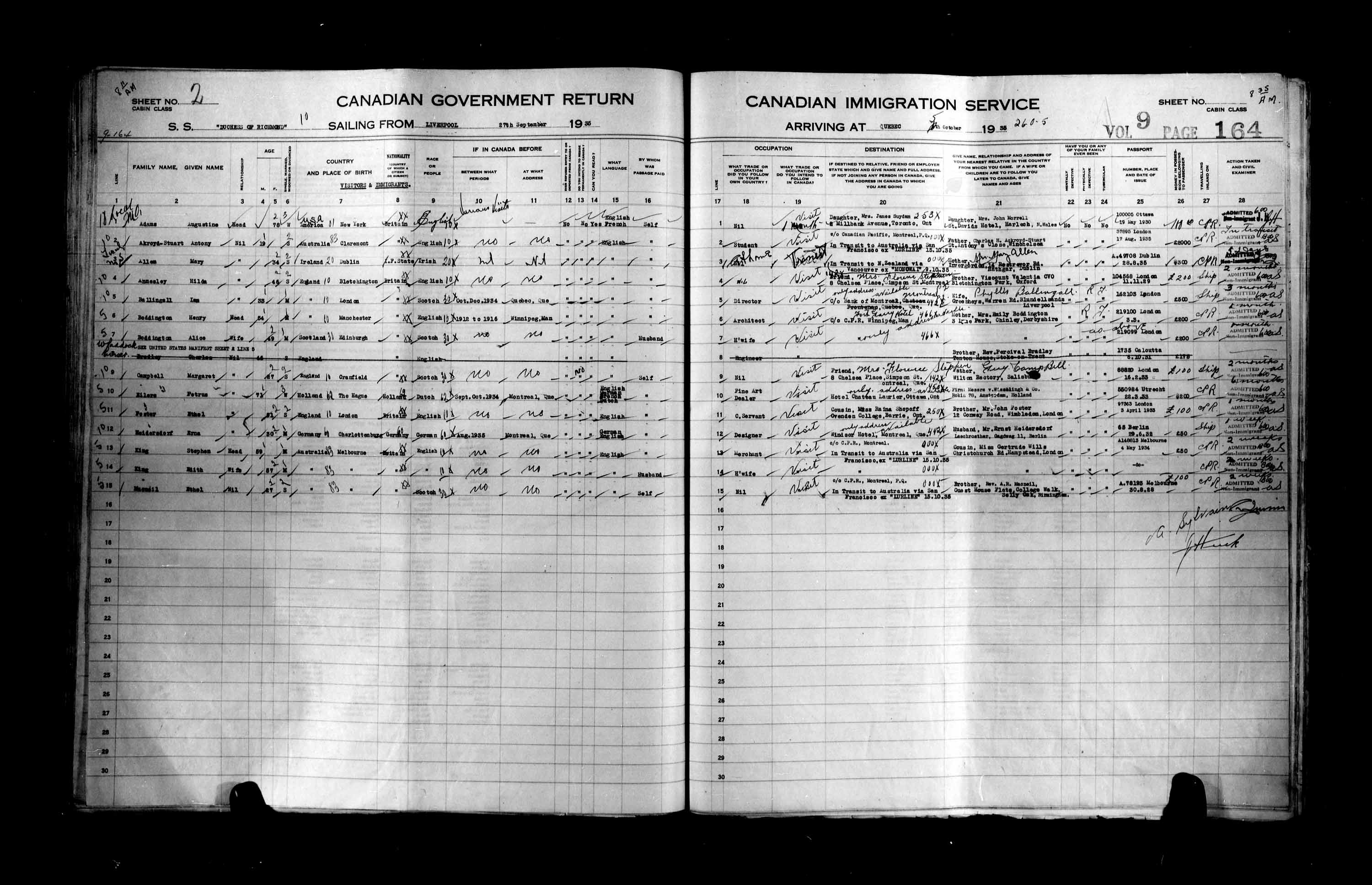 Title: Passenger Lists: Quebec City (1925-1935) - Mikan Number: 134839 - Microform: t-14792