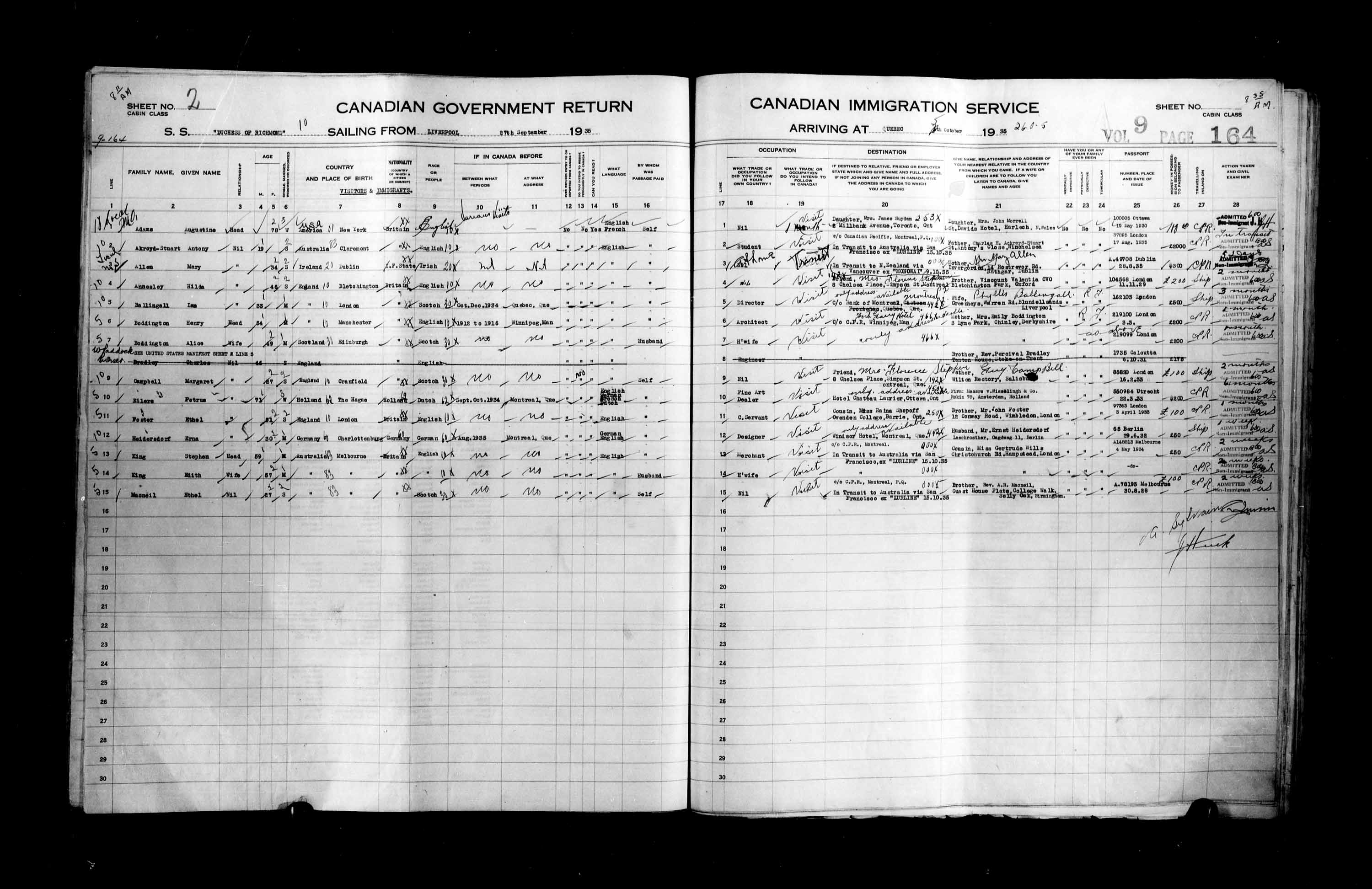 Title: Passenger Lists: Quebec City (1925-1935) - Mikan Number: 134839 - Microform: t-14793