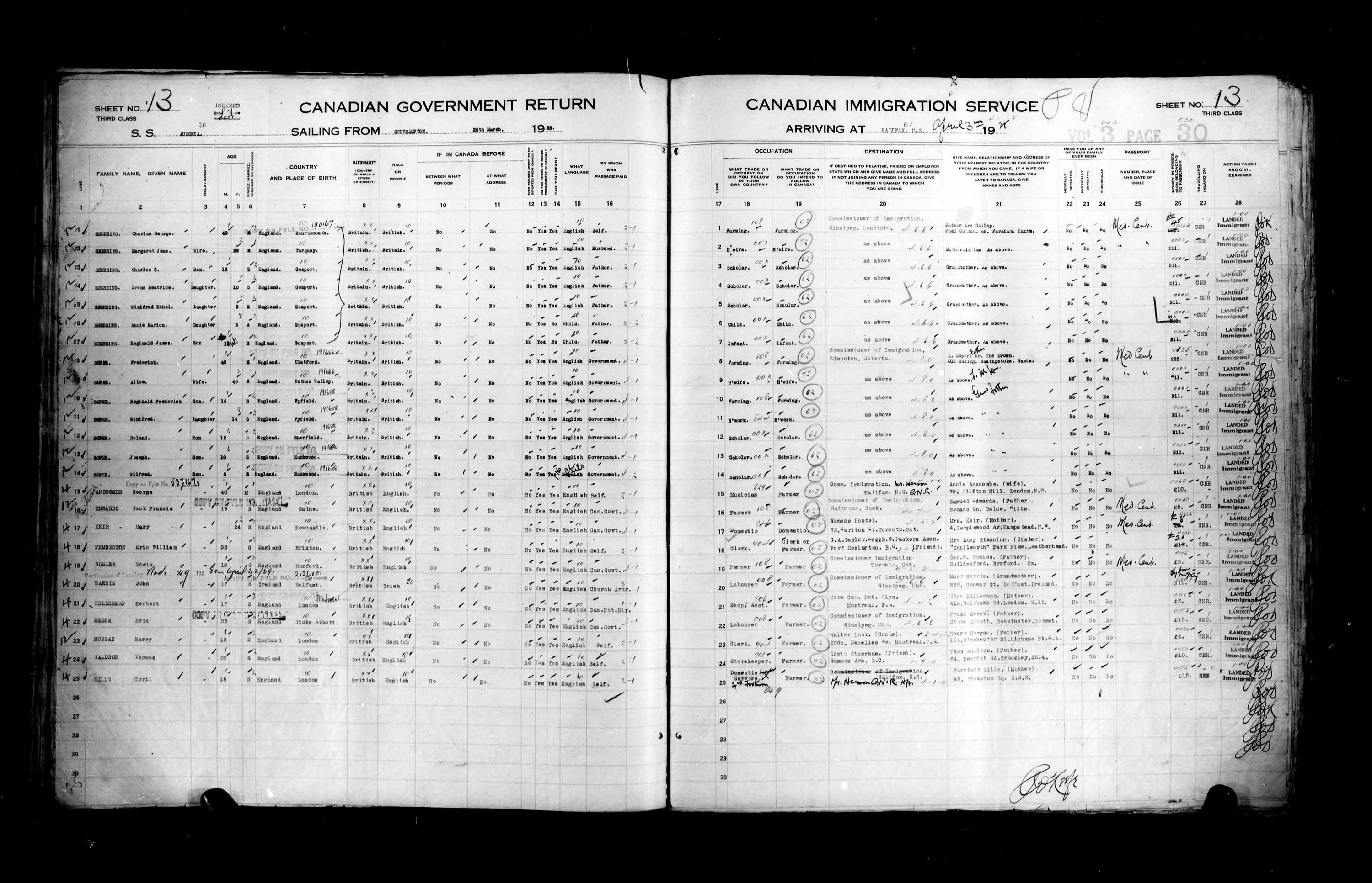 Title: Passenger Lists: Halifax (1925-1935) - Mikan Number: 134853 - Microform: t-14801