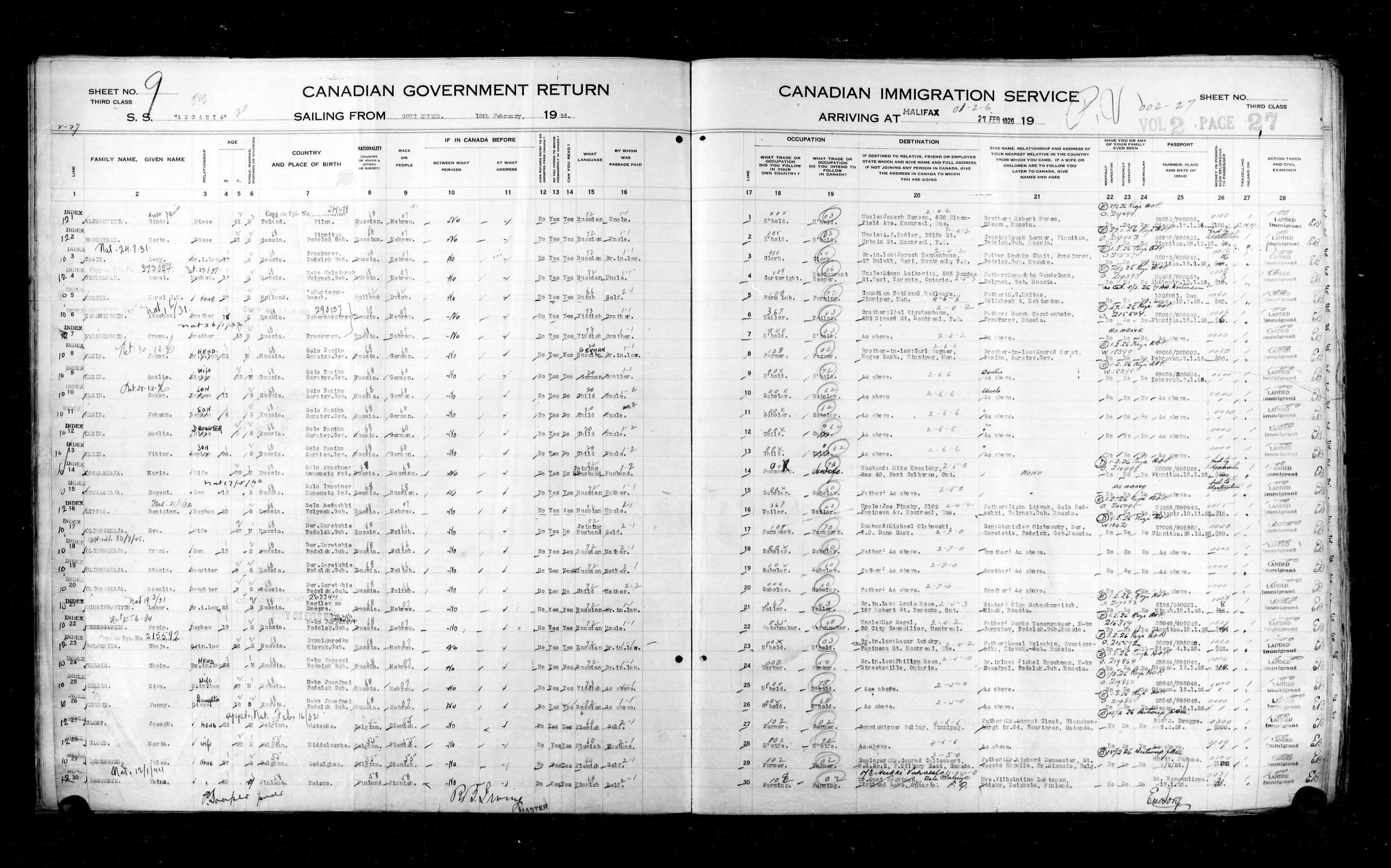 Title: Passenger Lists: Halifax (1925-1935) - Mikan Number: 134853 - Microform: t-14804