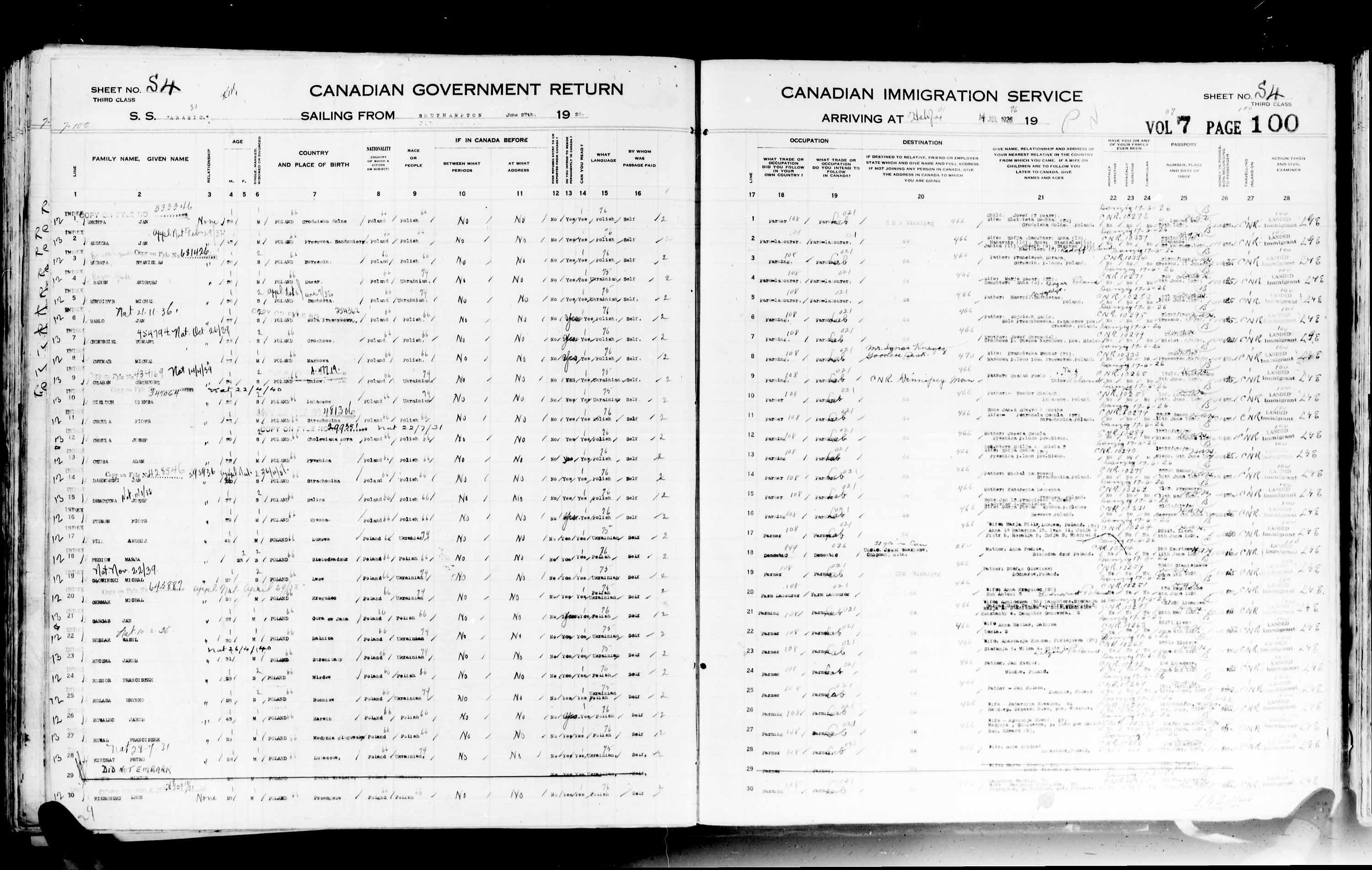 Title: Passenger Lists: Halifax (1925-1935) - Mikan Number: 134853 - Microform: t-14805