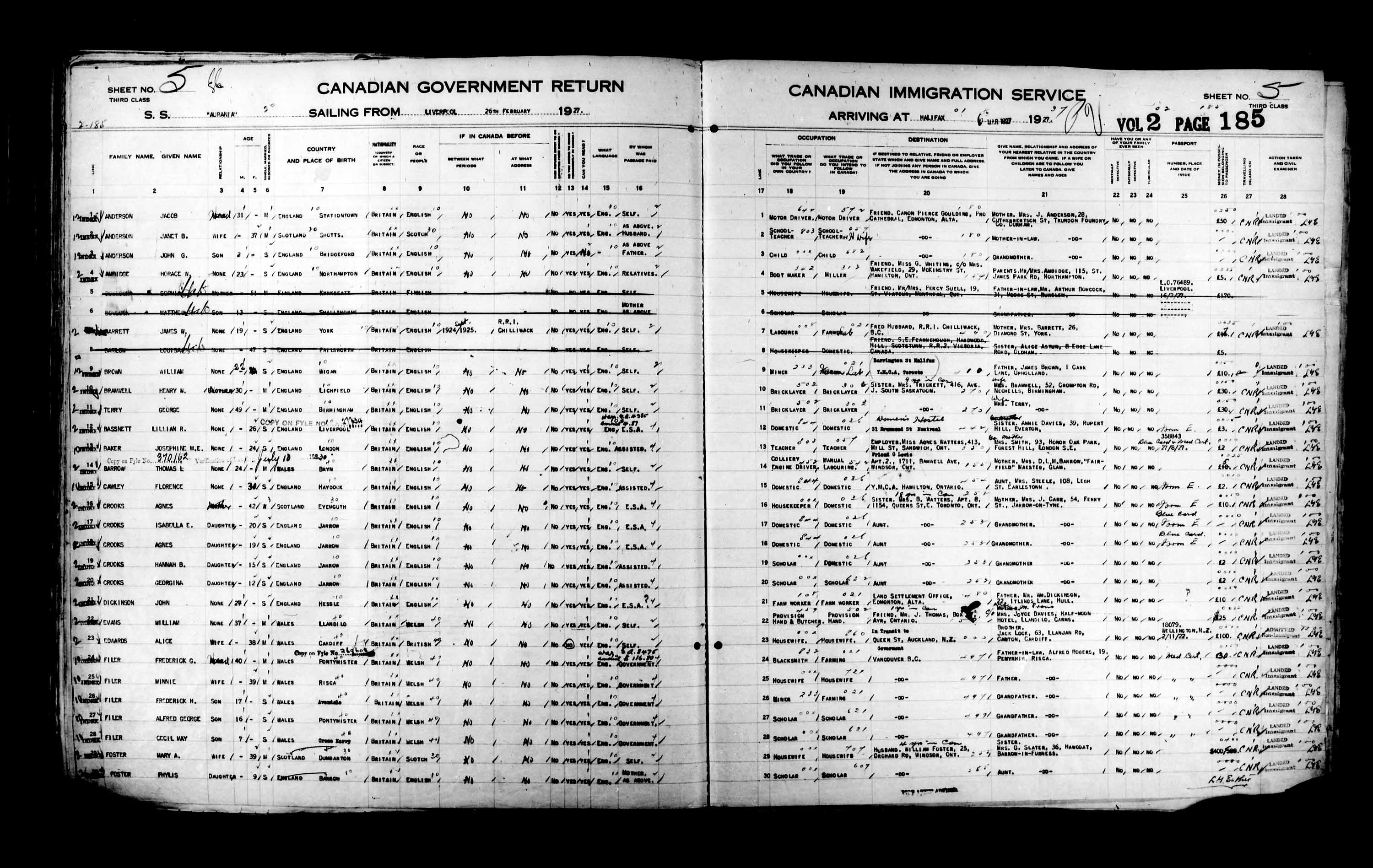 Title: Passenger Lists: Halifax (1925-1935) - Mikan Number: 134853 - Microform: t-14807