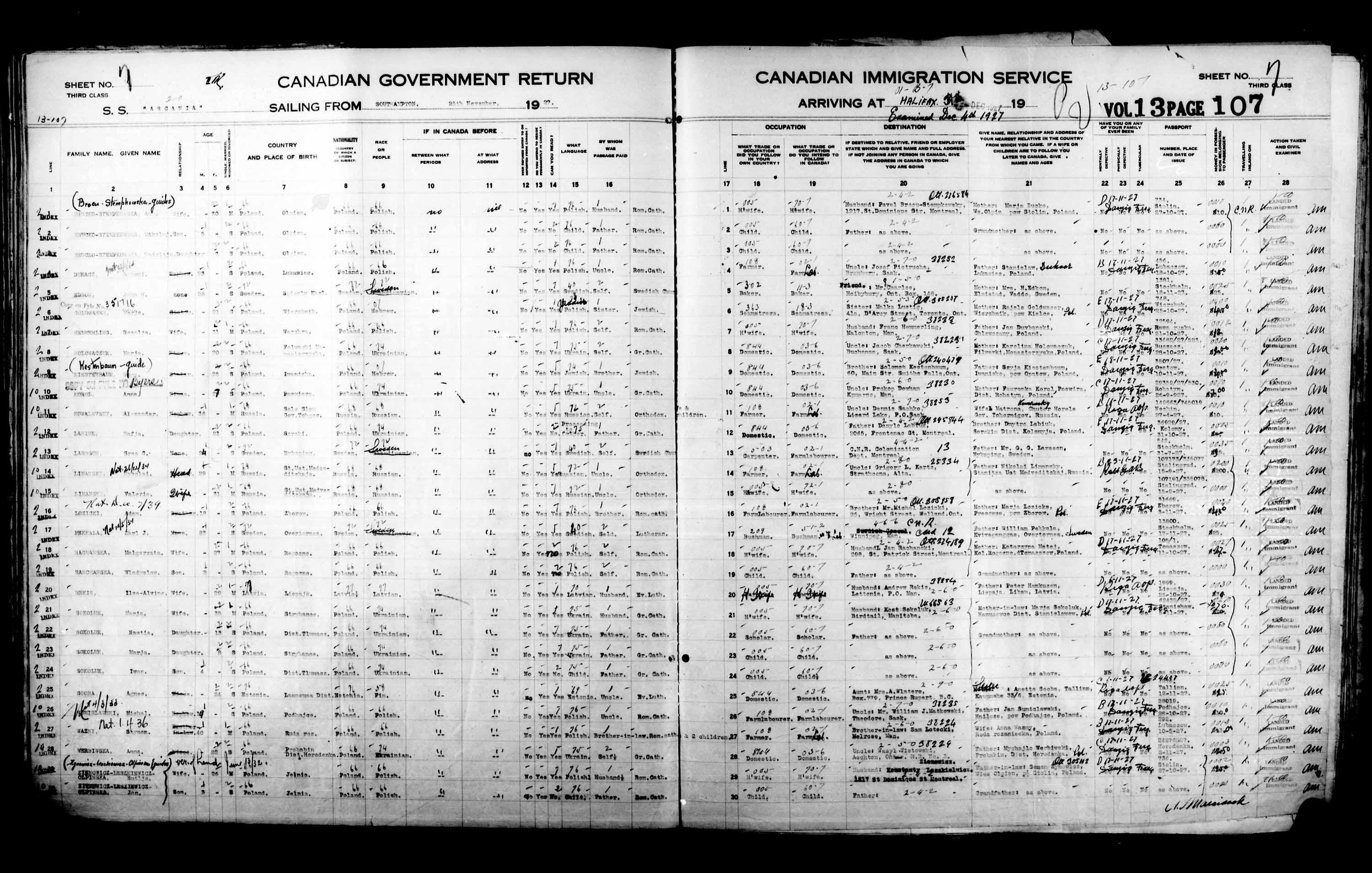 Title: Passenger Lists: Halifax (1925-1935) - Mikan Number: 134853 - Microform: t-14812