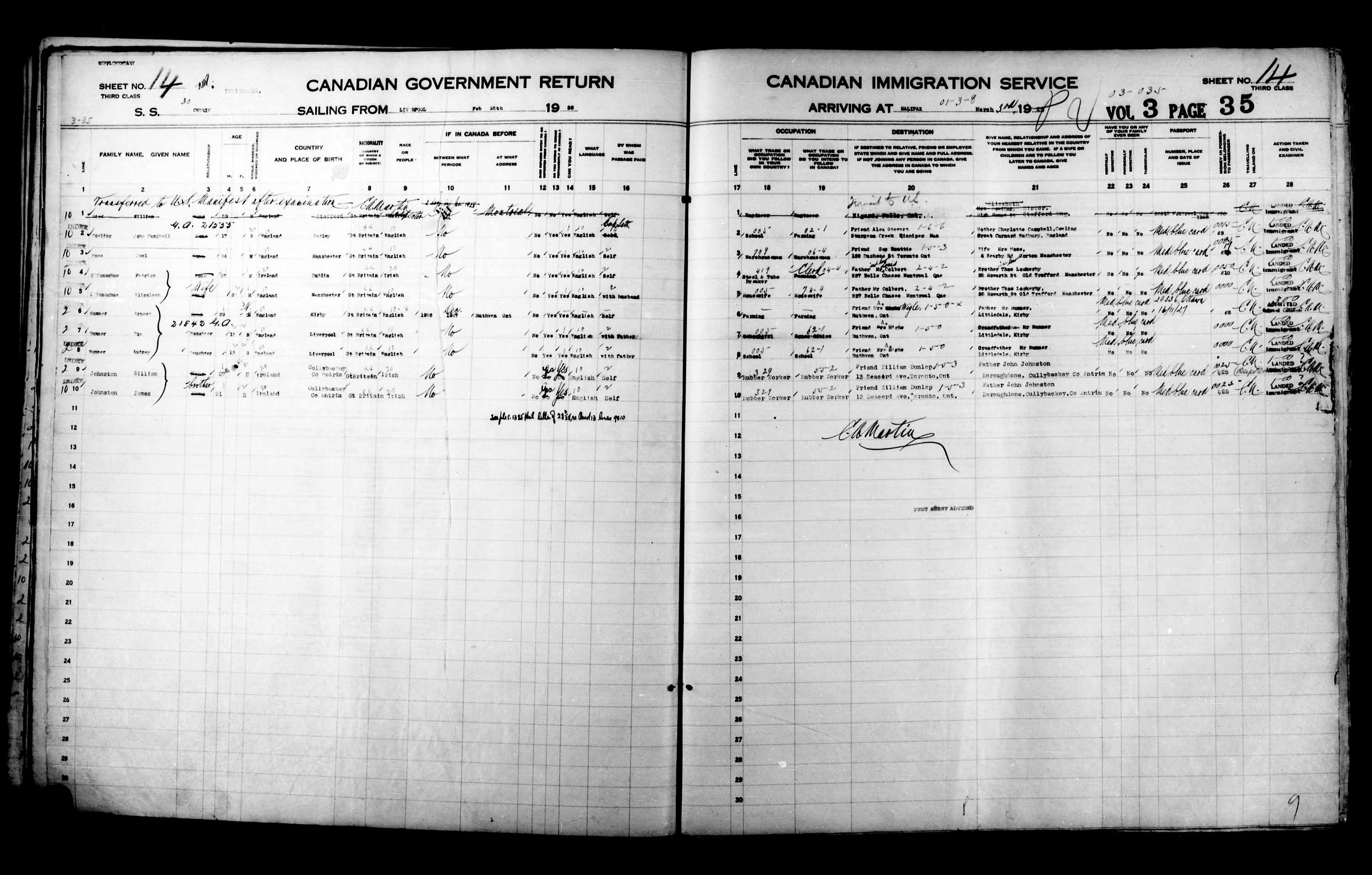 Title: Passenger Lists: Halifax (1925-1935) - Mikan Number: 134853 - Microform: t-14813