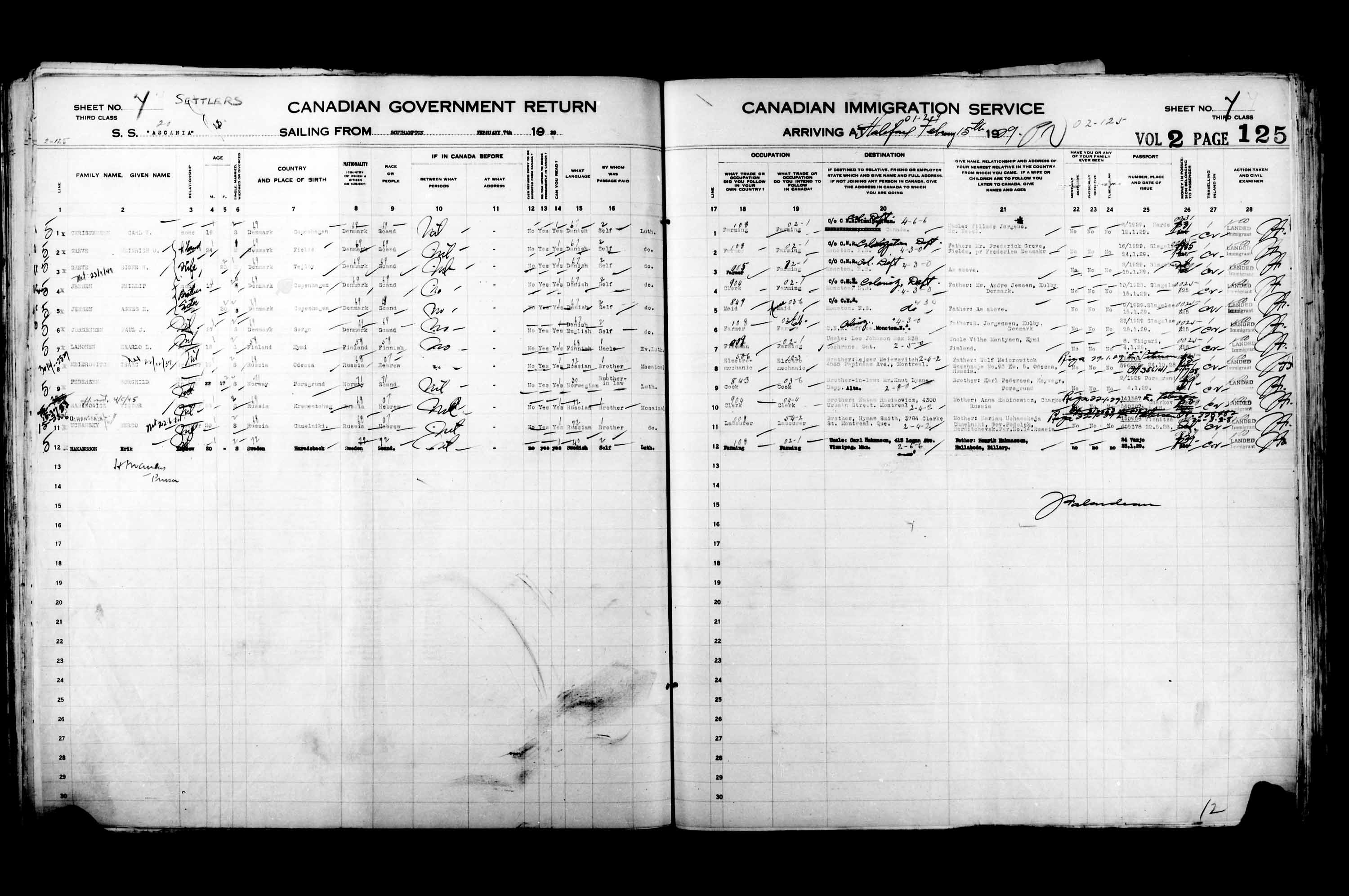 Title: Passenger Lists: Halifax (1925-1935) - Mikan Number: 134853 - Microform: t-14818