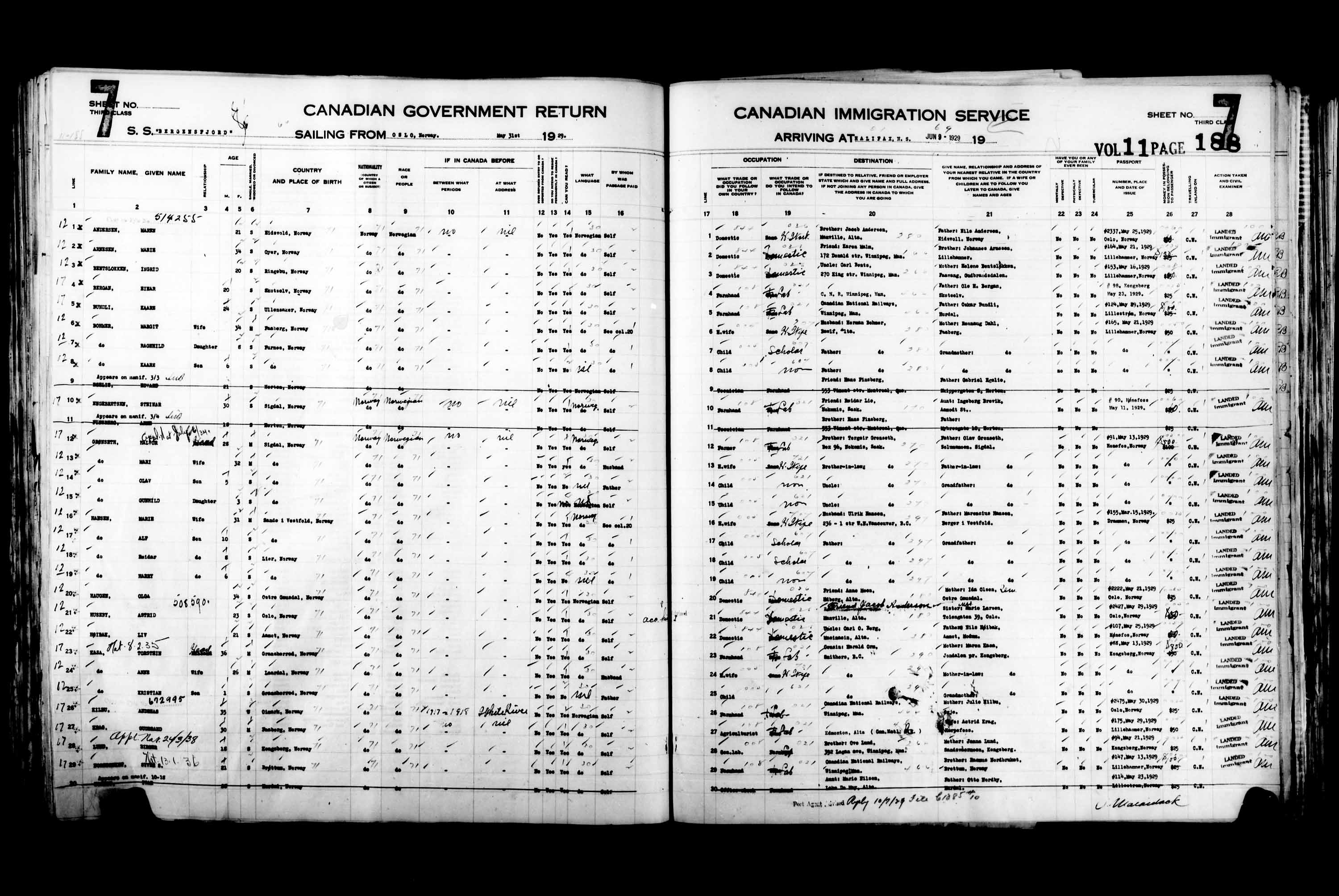 Title: Passenger Lists: Halifax (1925-1935) - Mikan Number: 134853 - Microform: t-14820