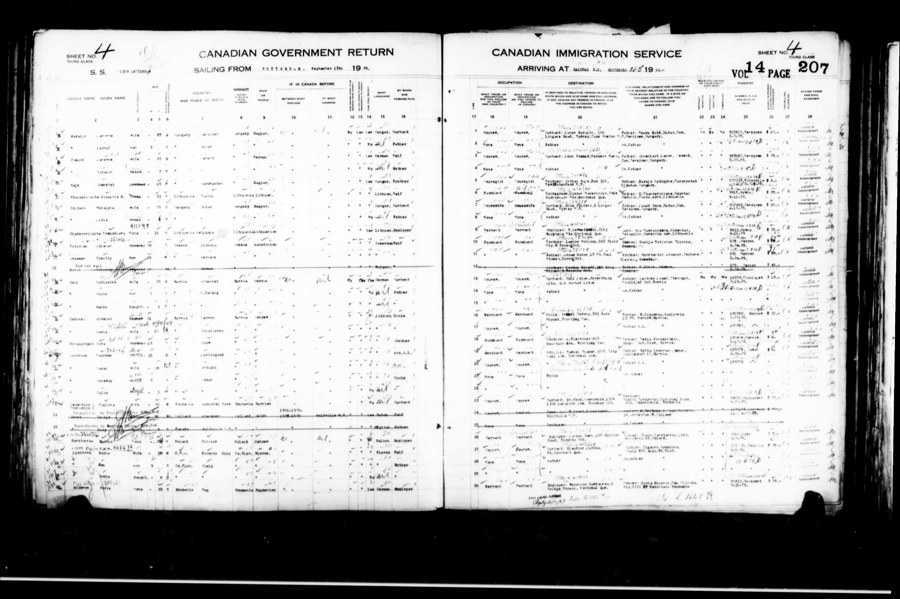 Title: Passenger Lists: Halifax (1925-1935) - Mikan Number: 134853 - Microform: t-14821