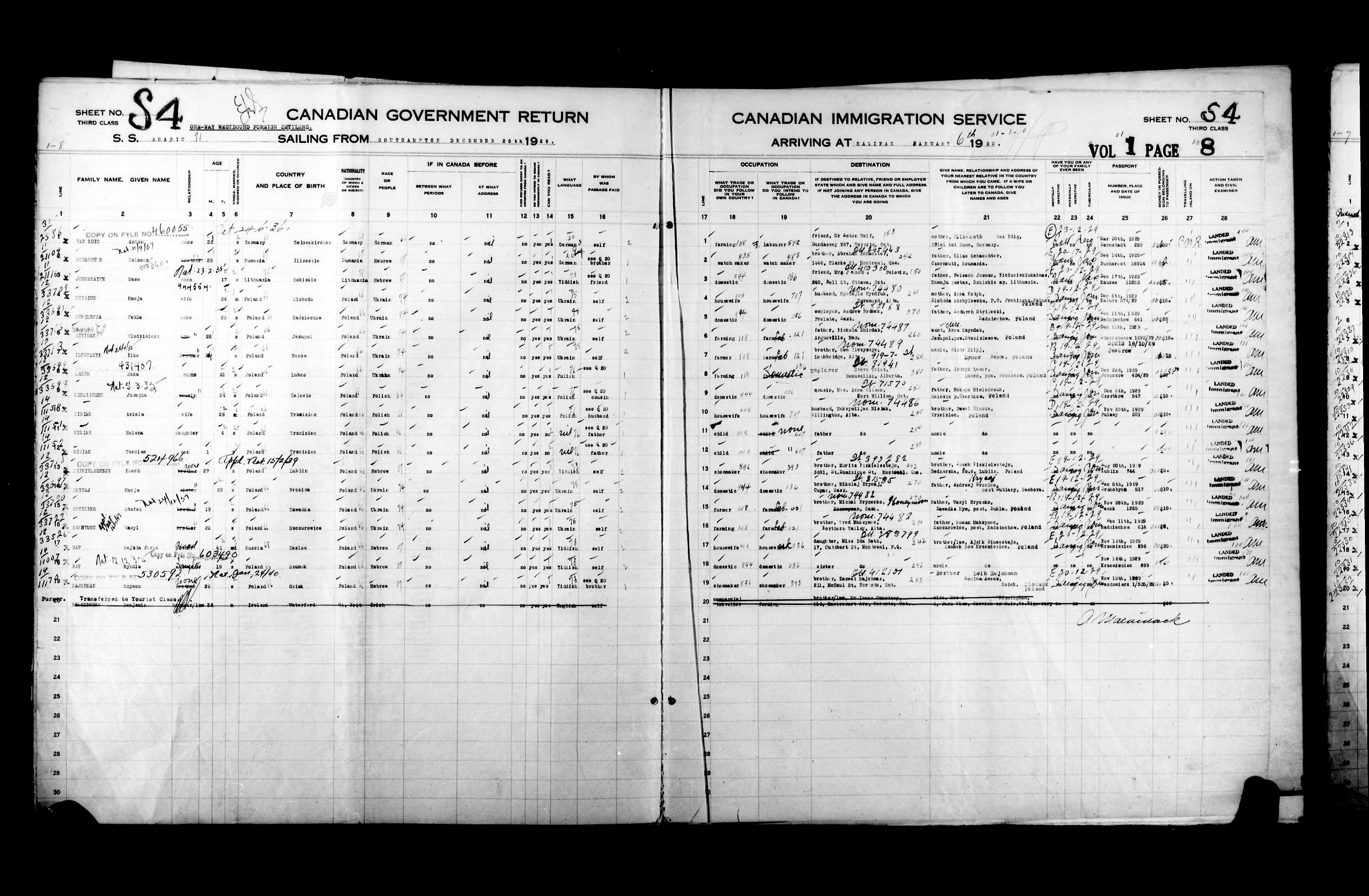 Title: Passenger Lists: Halifax (1925-1935) - Mikan Number: 134853 - Microform: t-14822