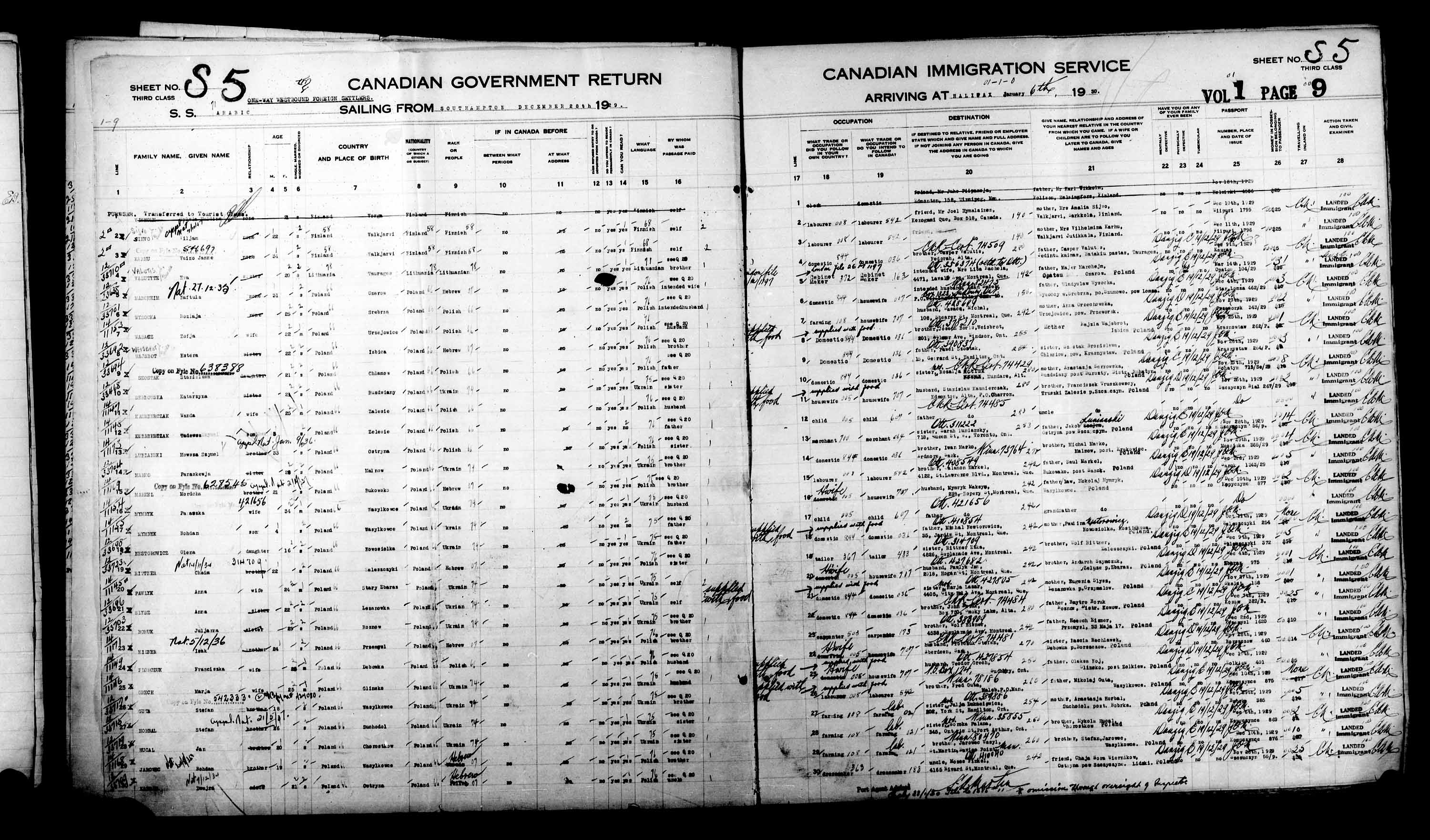 Title: Passenger Lists: Halifax (1925-1935) - Mikan Number: 134853 - Microform: t-14823