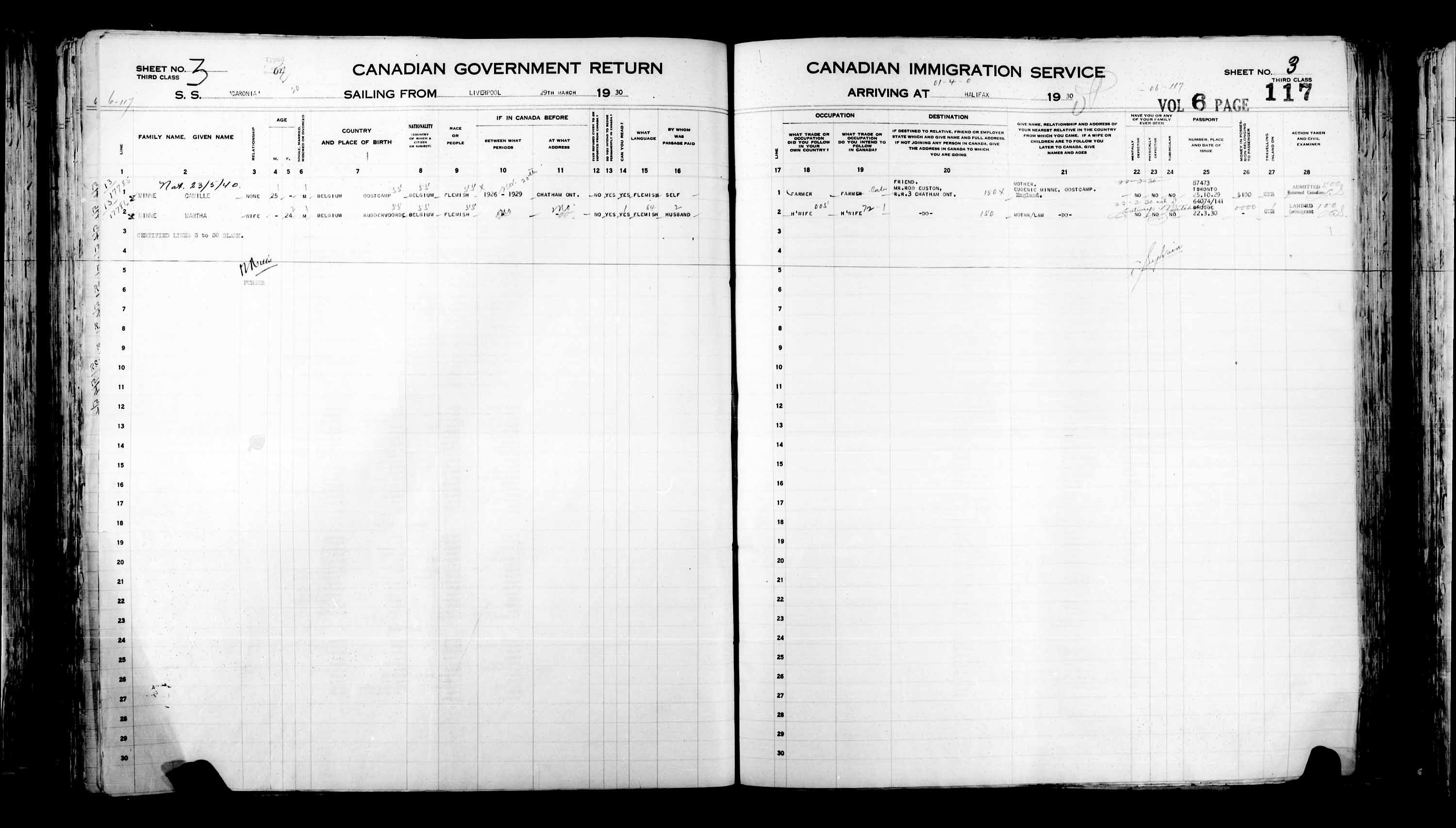 Title: Passenger Lists: Halifax (1925-1935) - Mikan Number: 134853 - Microform: t-14825