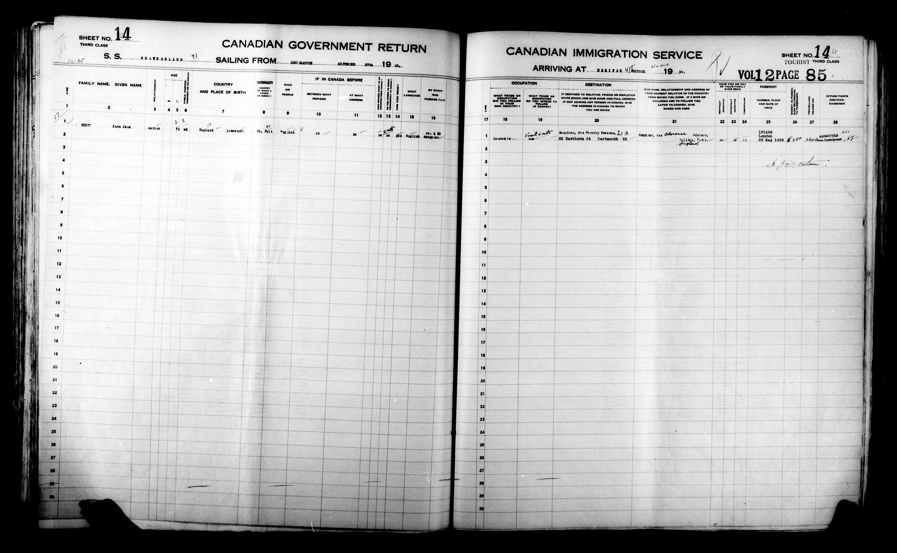 Title: Passenger Lists: Halifax (1925-1935) - Mikan Number: 134853 - Microform: t-14826